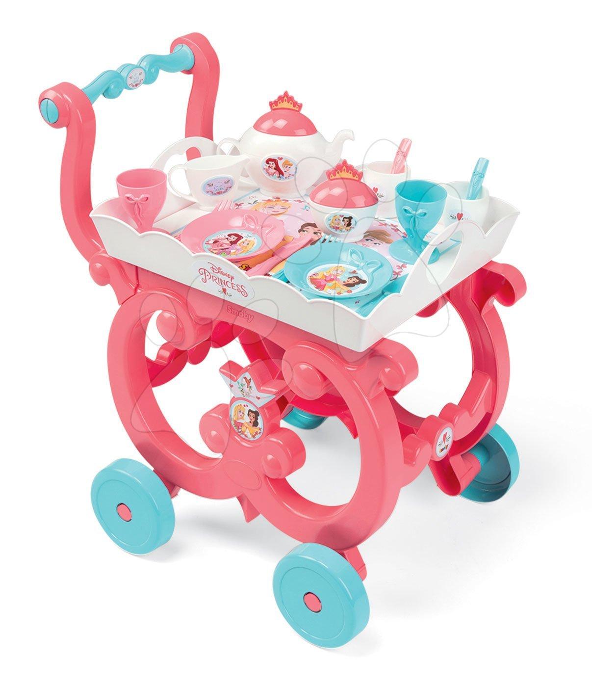 Posuđe i dodaci za kuhinju - Poslužna kolica Princeze XL Tea Trolley Smoby ružičasta sa 17 dodataka