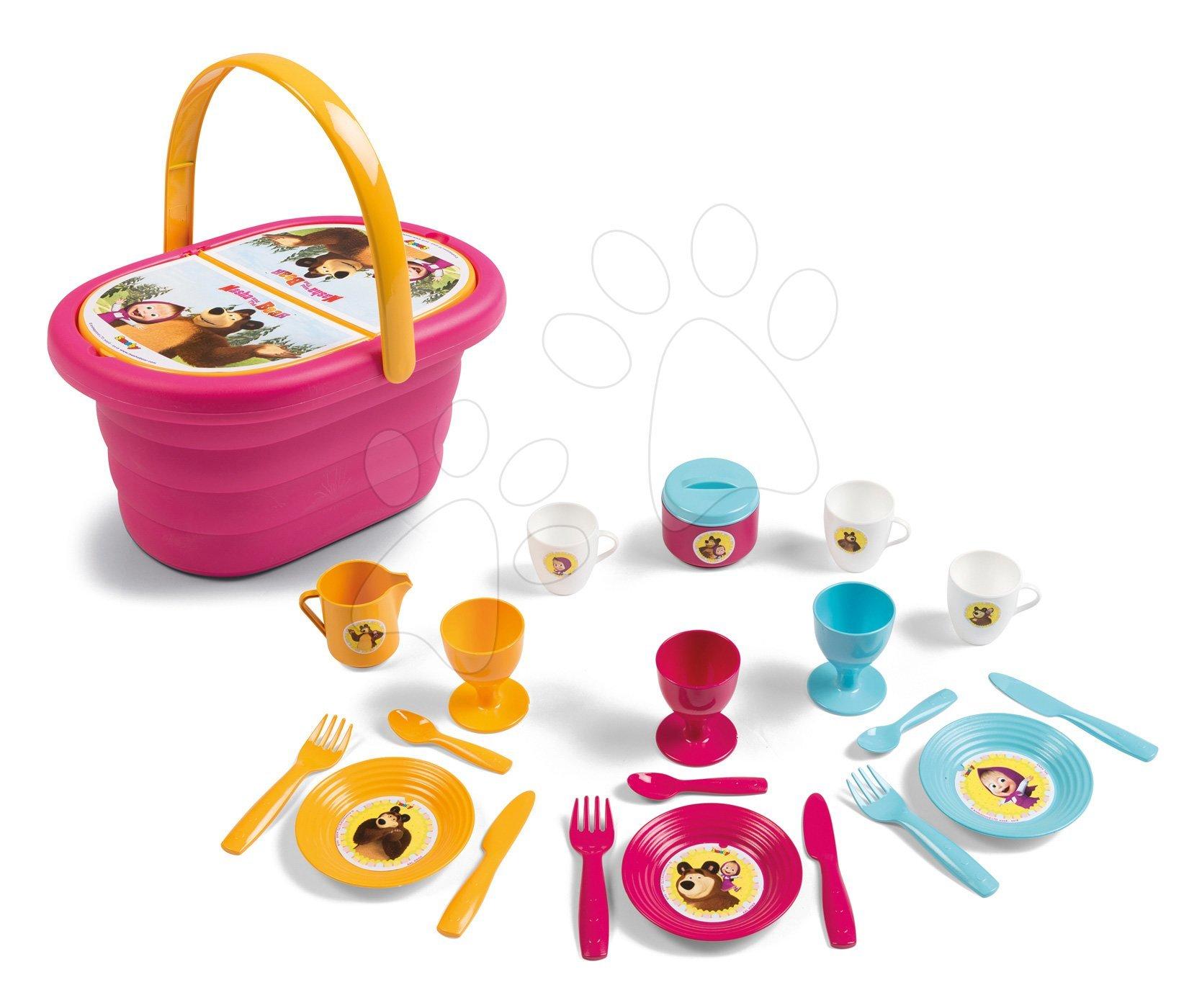 Piknikový košík s obedovou súpravou Máša a medveď Smoby s 21 doplnkami ružový