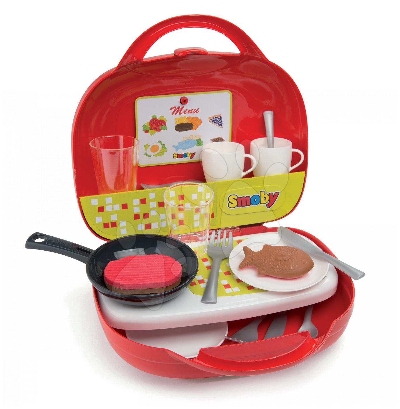 Obyčajné kuchynky - Kuchynka Mini Chef Smoby v kufríku s opečenými potravinami a 17 doplnkami