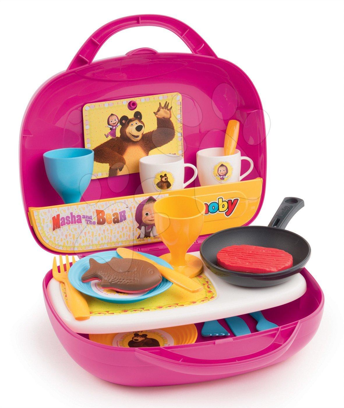 Mása és a medve konyhácska bőröndben Smoby sült élelmiszerekkel evőeszközökkel és 17 kiegészítővel