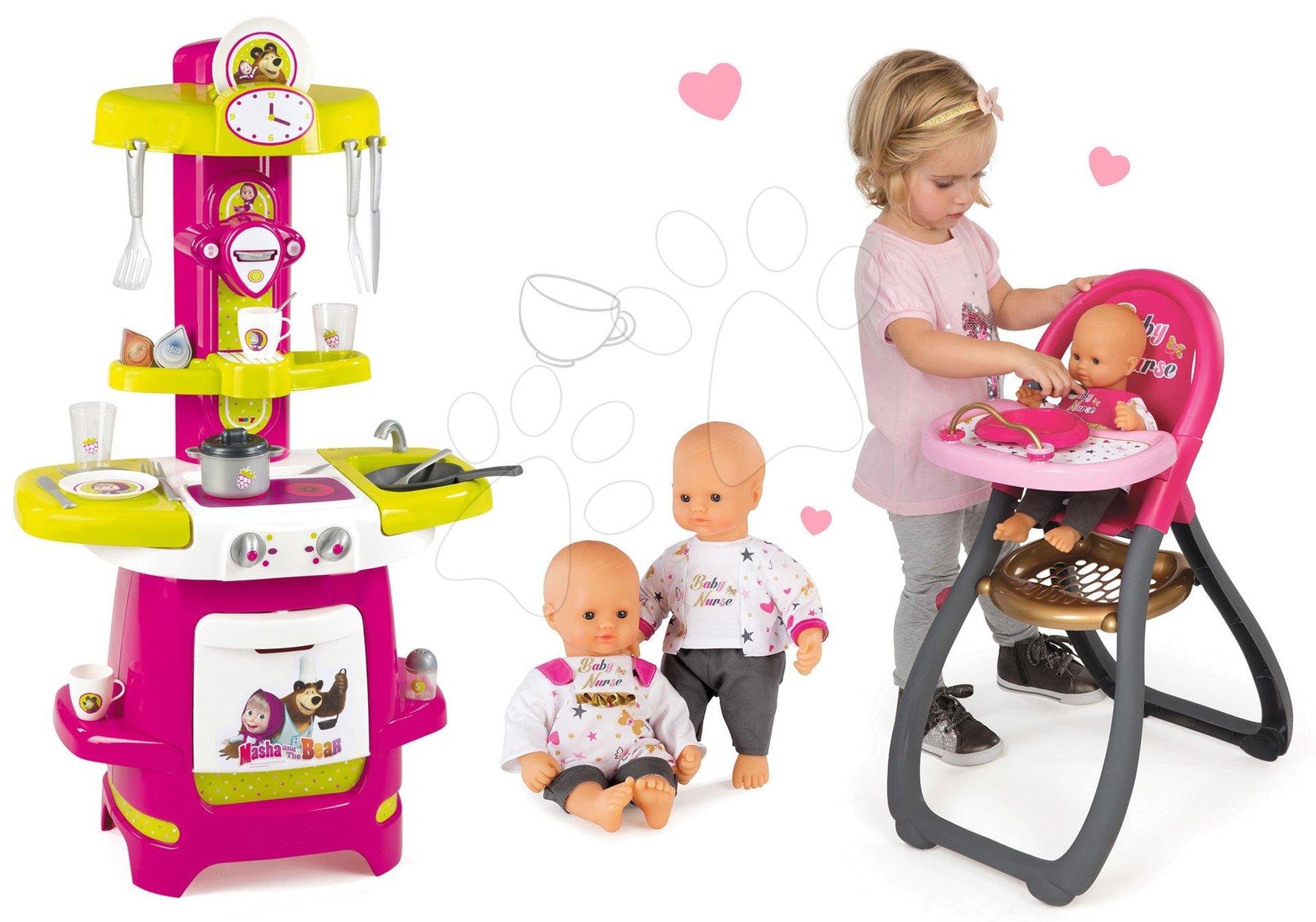 Set kuchyňka Cooky Smoby s křidélky, jídelní židle a panenka Baby Nurse Zlatá edice od 18 měsíců