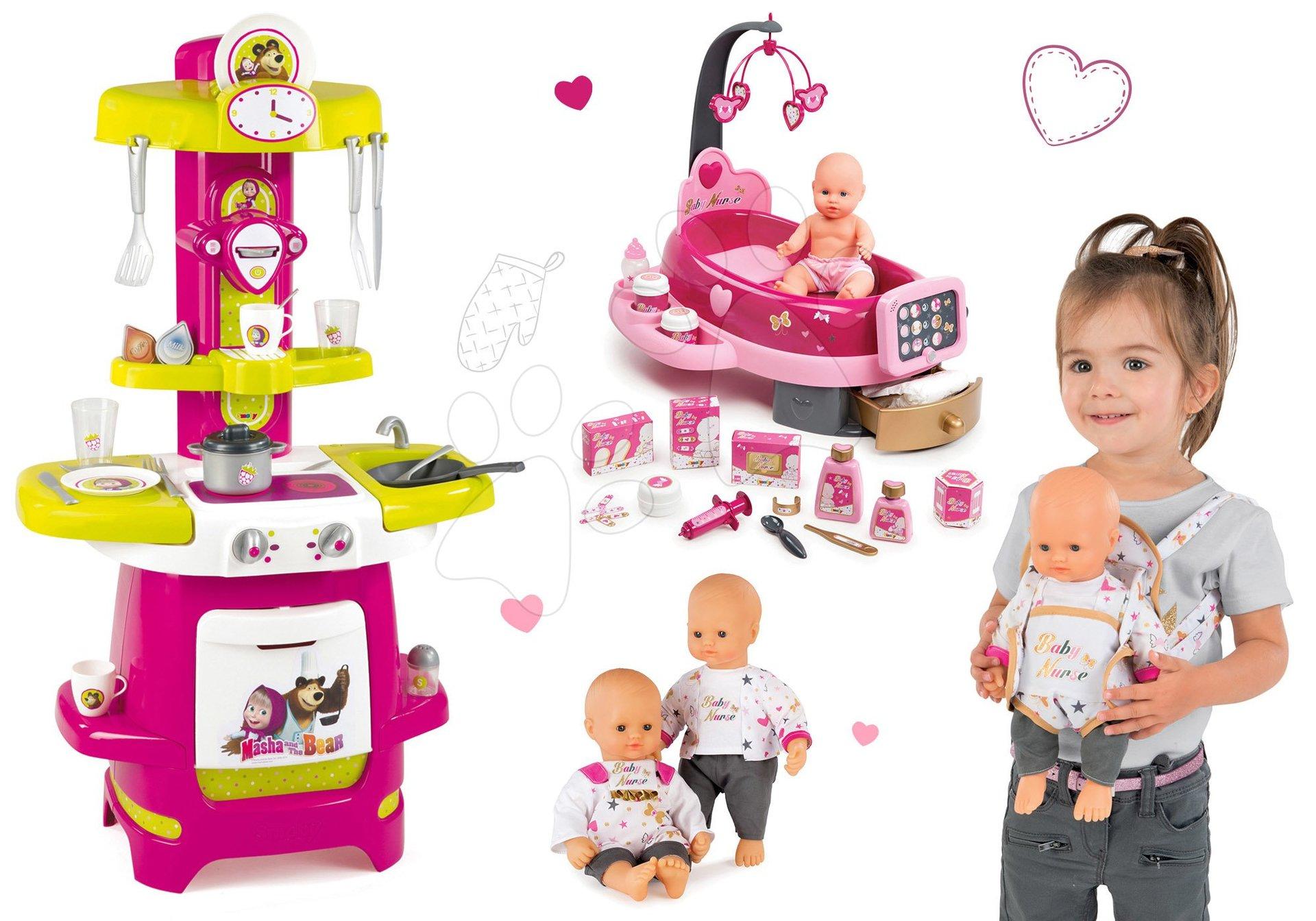 Set kuchynka Máša a Medveď Smoby a opatrovateľské centrum Baby Nurse s bábikou a klokanka