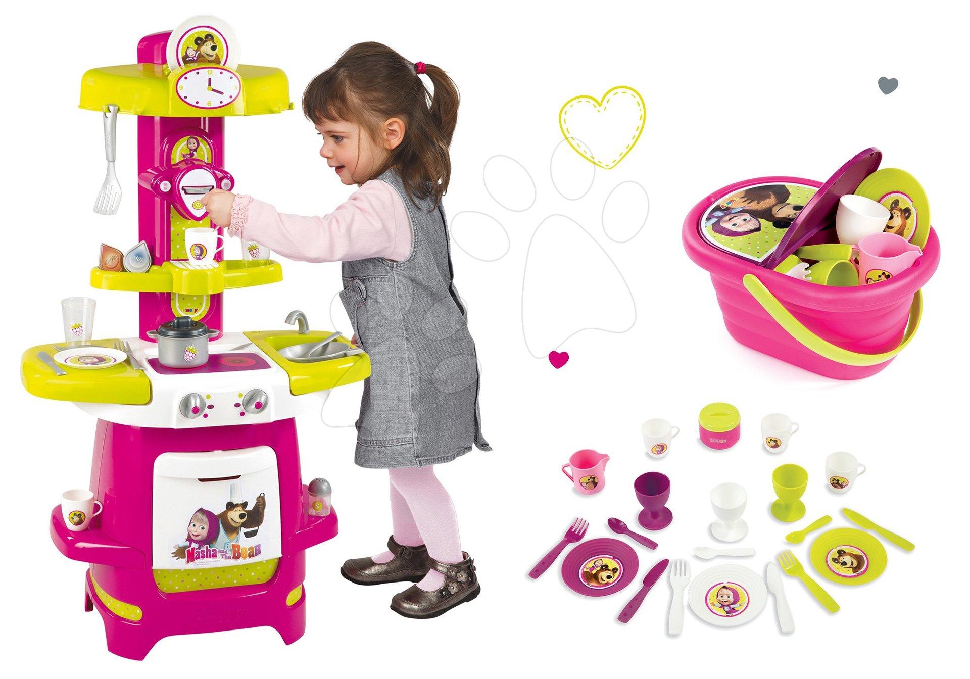 Kuchynky pre deti sety - Set kuchynka Máša a medveď Smoby a piknikový košík s riadom a doplnkami od 18 mes