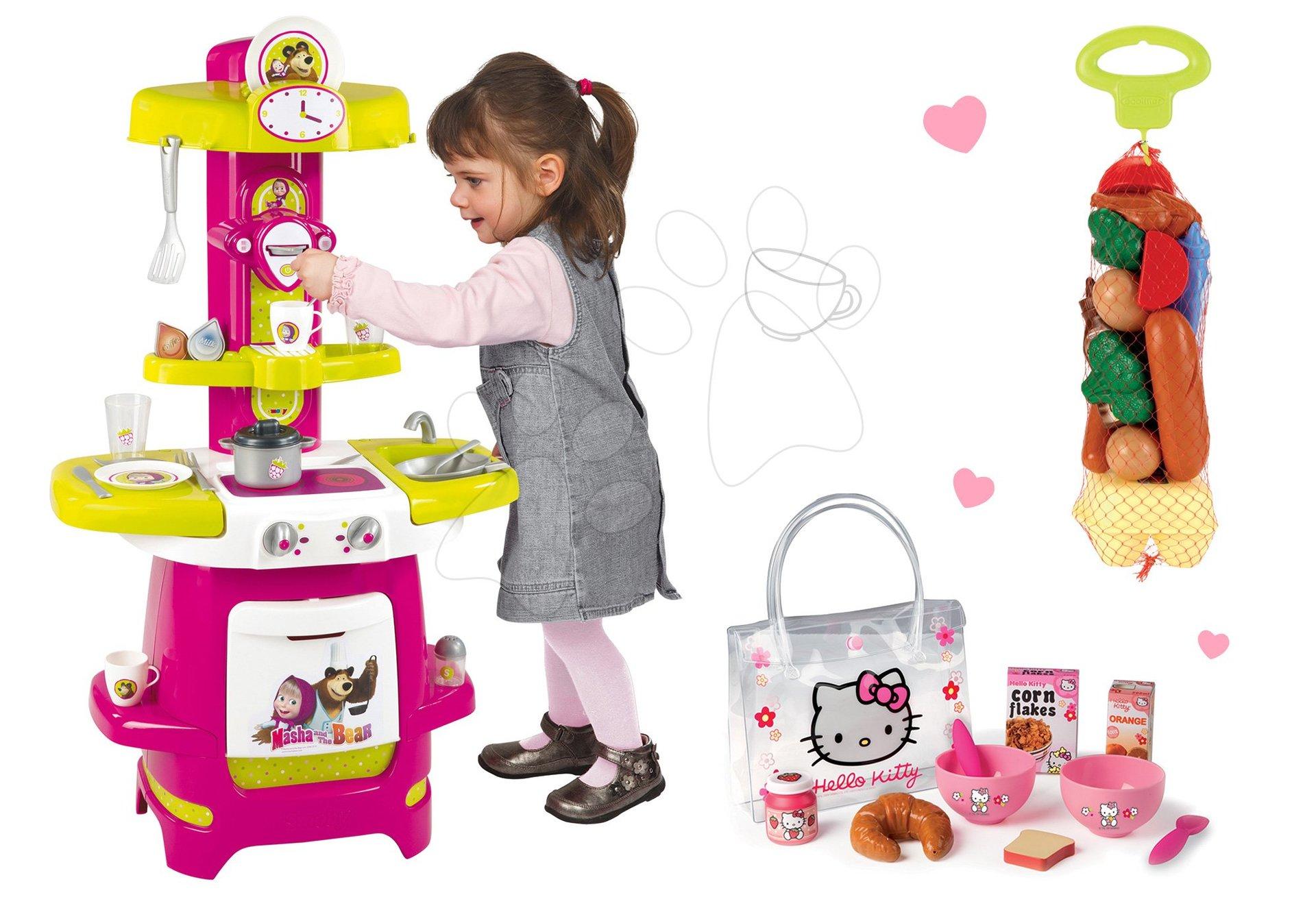 Kuchynky pre deti sety - Set kuchynka Máša a medveď Smoby s kávovarom a raňajkový set v taštičke