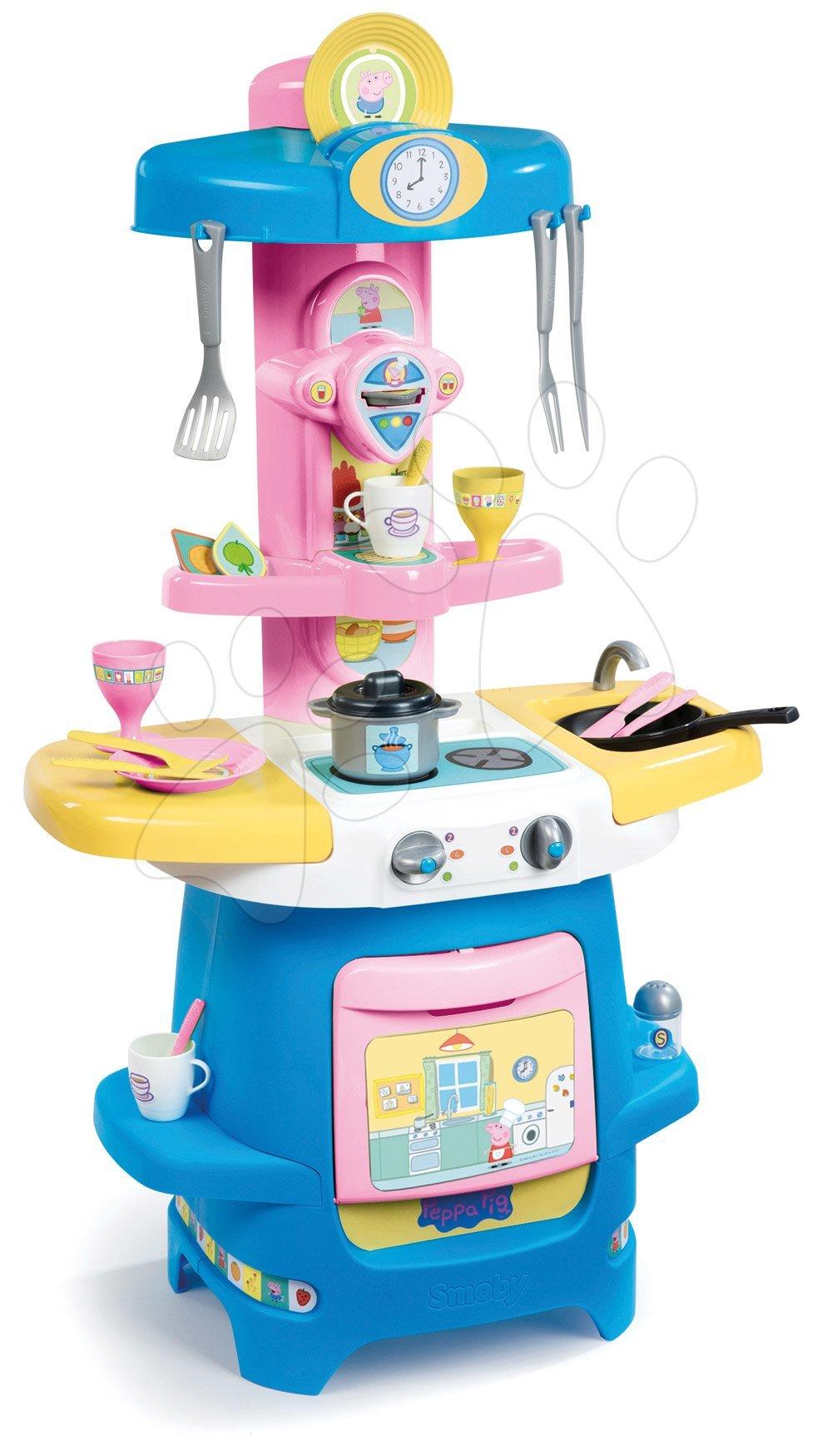 Játékkonyha kávéfőzővel Peppa Pig Cooky Smoby nyitható munkafelülettel, sütővel és 22 kiegészítővel 85 cm magas 18 hótól