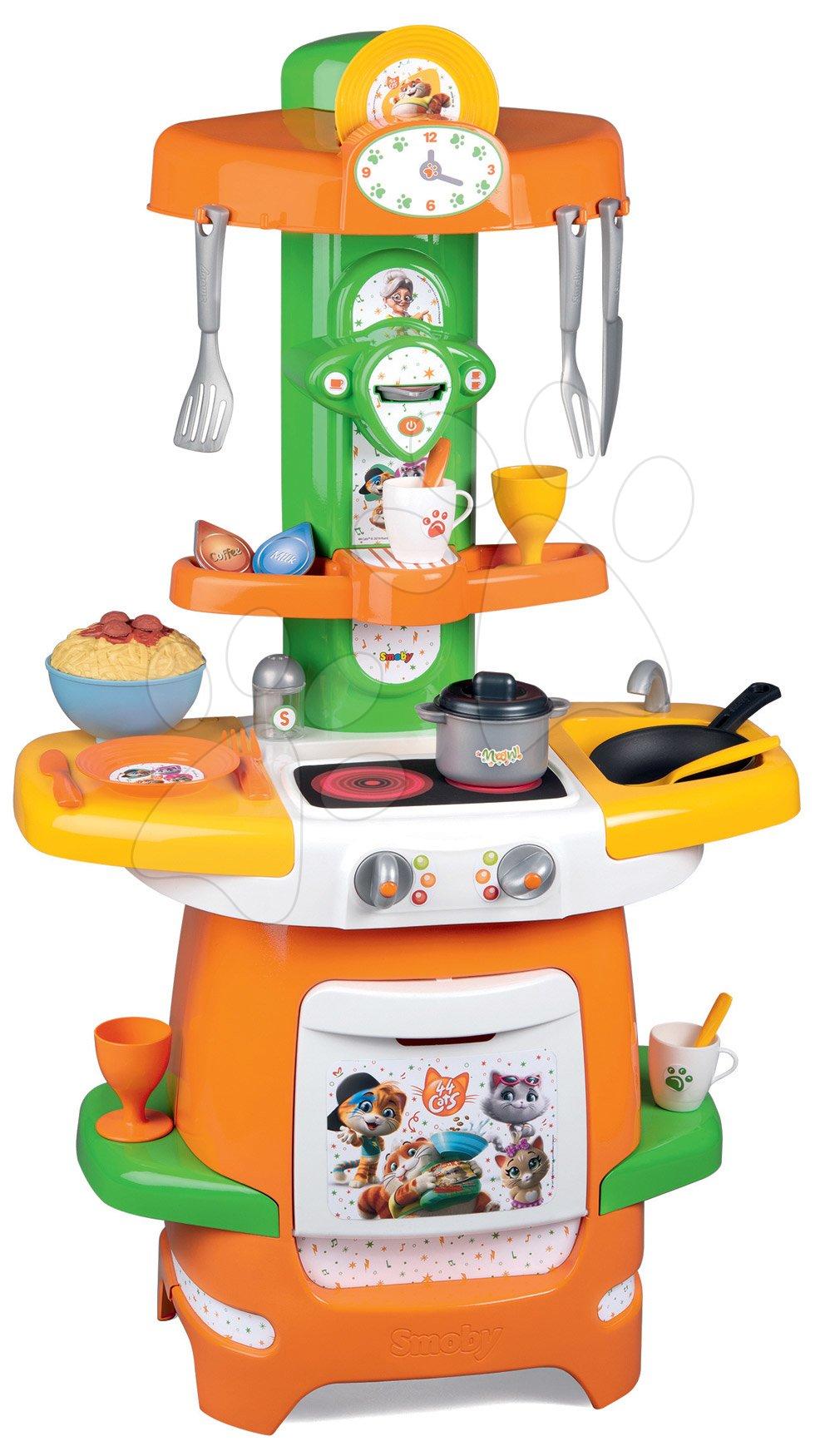 Kuchyňka 44 Cats Cooky Smoby s otevíratelnými křidélky a 24 doplňky od 18 měsíců
