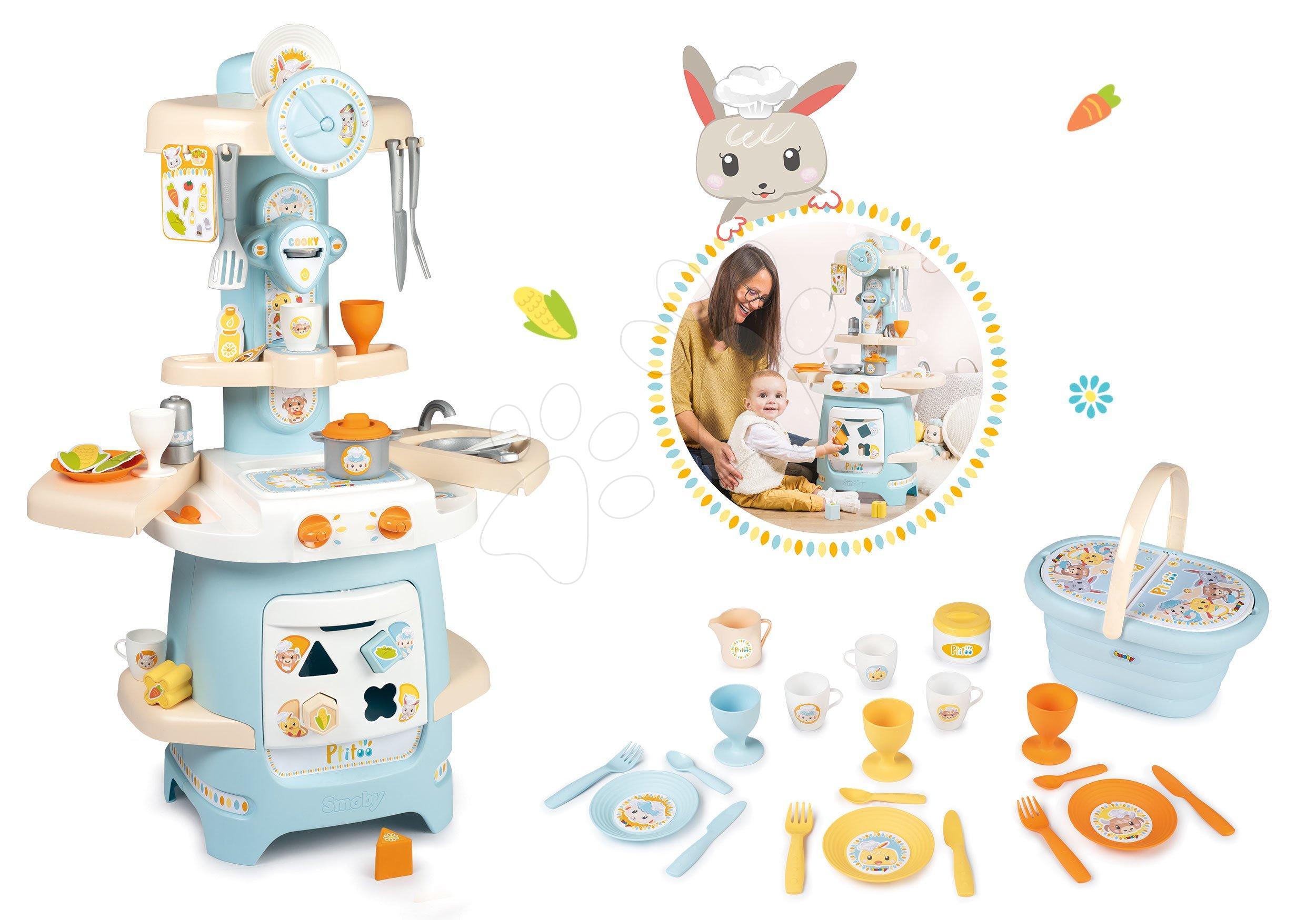 Set didaktická kuchynka pre najmenších Ptitoo Smoby s kávovarom a piknik košík s obedovou súpravou