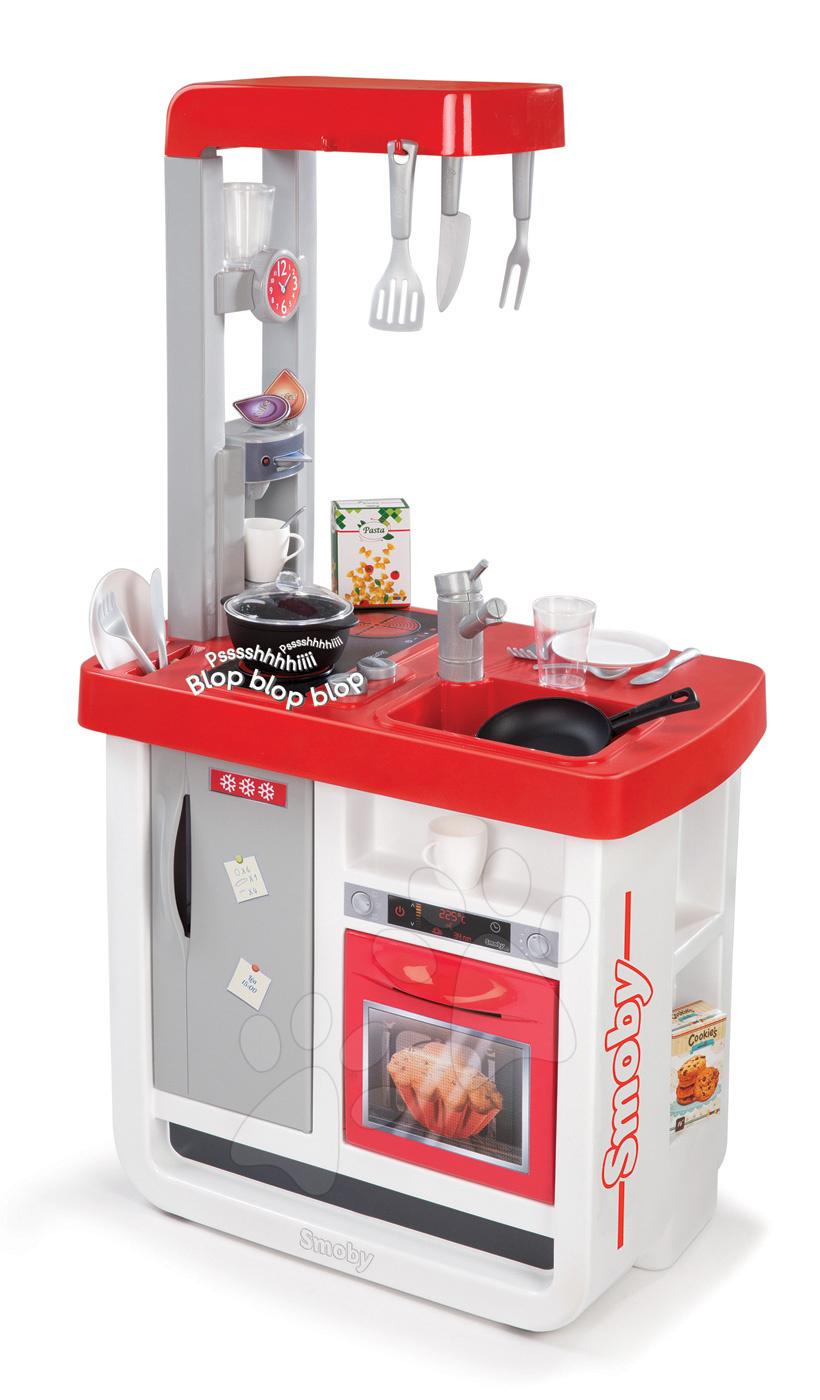 Kuchyňka Bon Appétit elektronická Smoby se zvuky, kávovar a 23 doplňků červeno-stříbrná