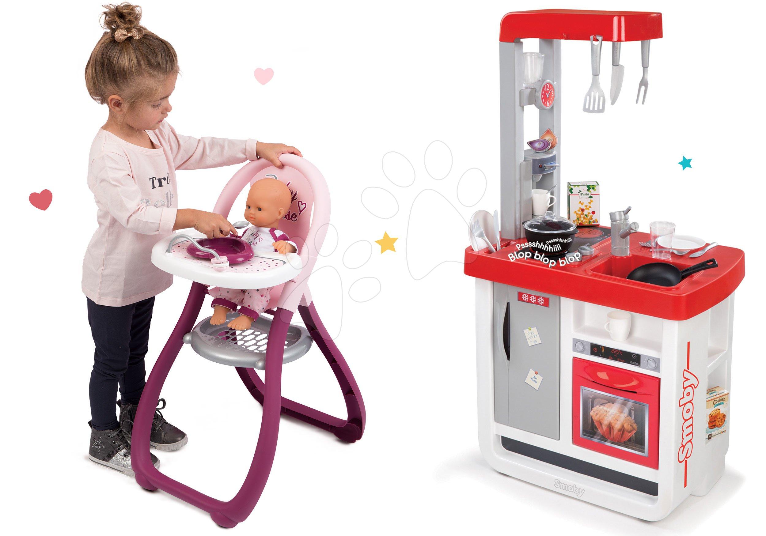 Smoby set detská kuchynka Bon Appétit so zvukmi, jedálenská stolička a bábika Baby Nurse 310800-4