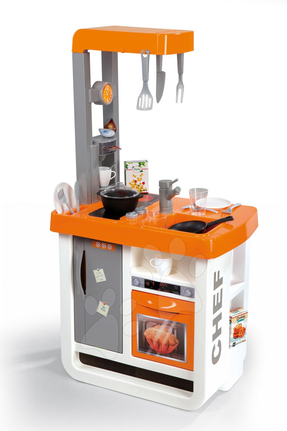 Kuchyňka Bon Appétit Chef Smoby s lednicí, kávovarem a 23 doplňky oranžovo-stříbrná