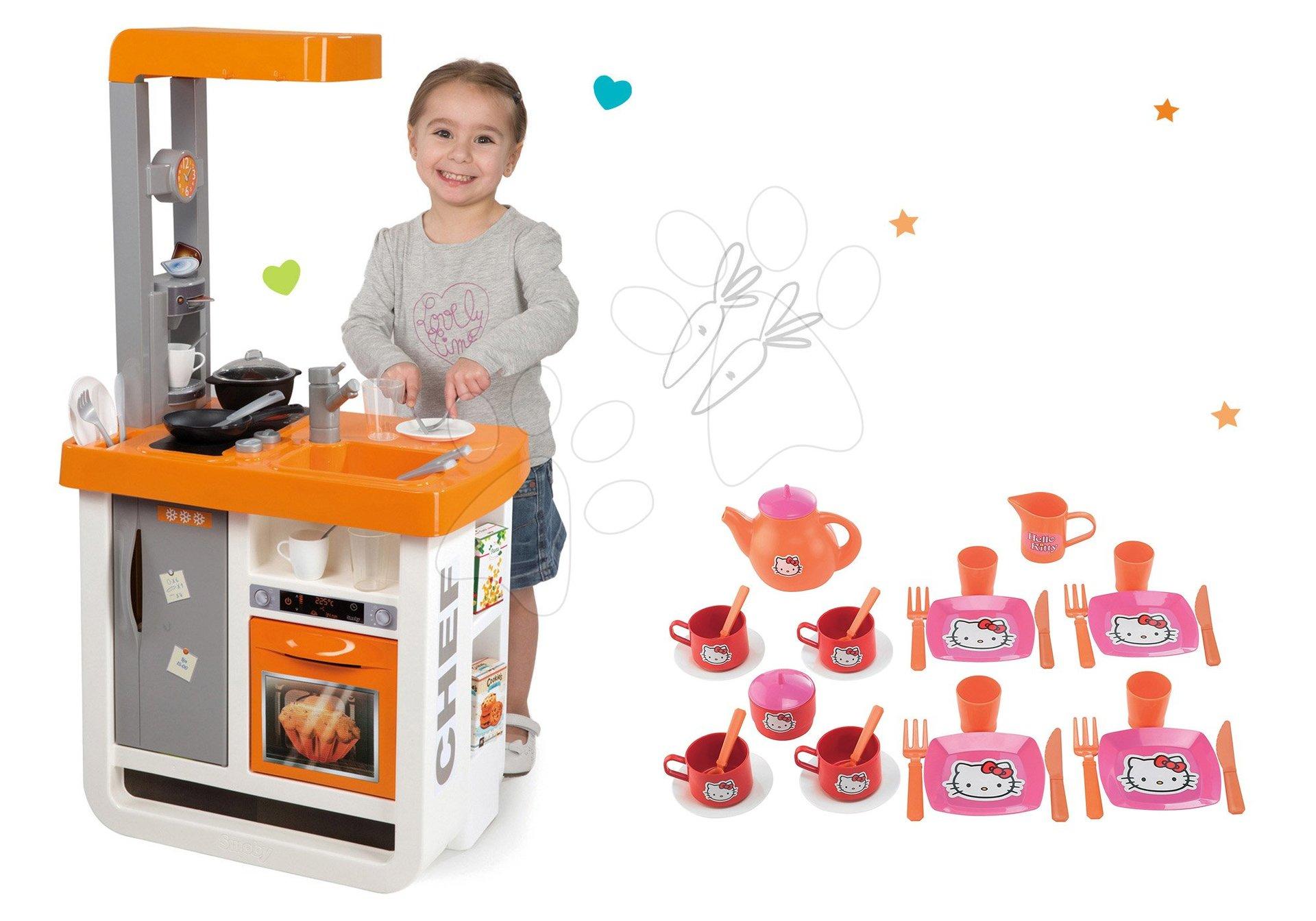 Smoby set kuchynka Bon Appétit Chef a čajová sada Hello Kitty s 33 doplnkami 310803-6