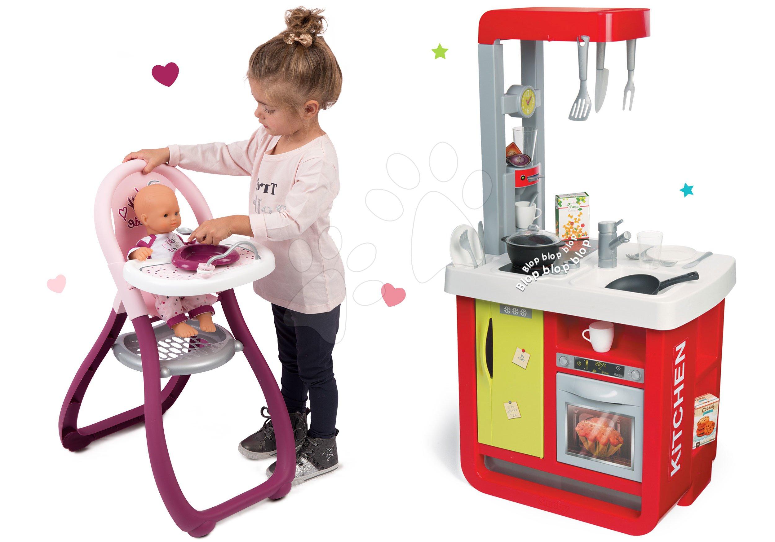 Smoby set kuchynka Cherry Special, jedálenská stolička a bábika Baby Nurse Zlatá edícia 310810-10