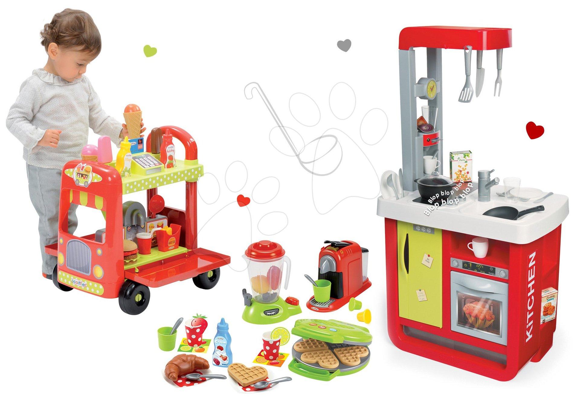 Set kuchyňka Cherry Special Smoby se zvuky a vaflovač s mixérem a kávovarem