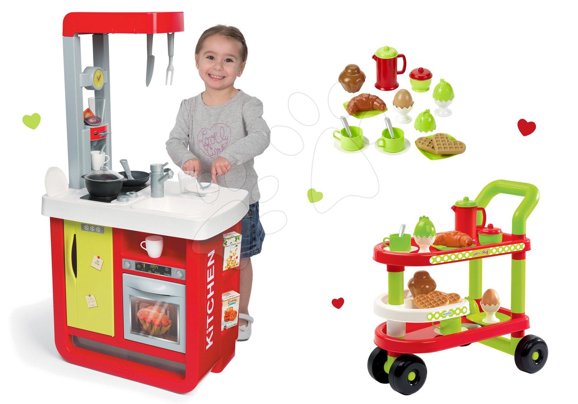 Smoby set kuchyňka Cherry Special se zvuky a servírovací vozík se snídaní mi 100% Chef 310810-16