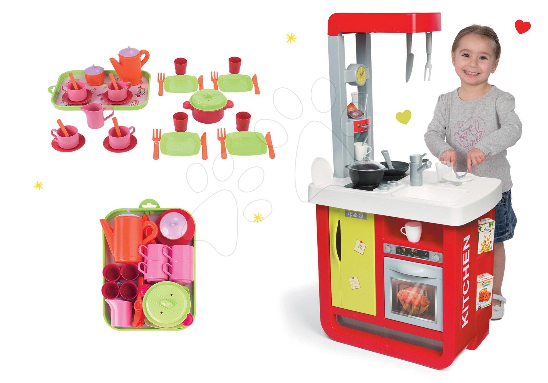 Smoby set detská kuchynka elektronická Bon Appetit a čajová súprava na tácke 310810-2