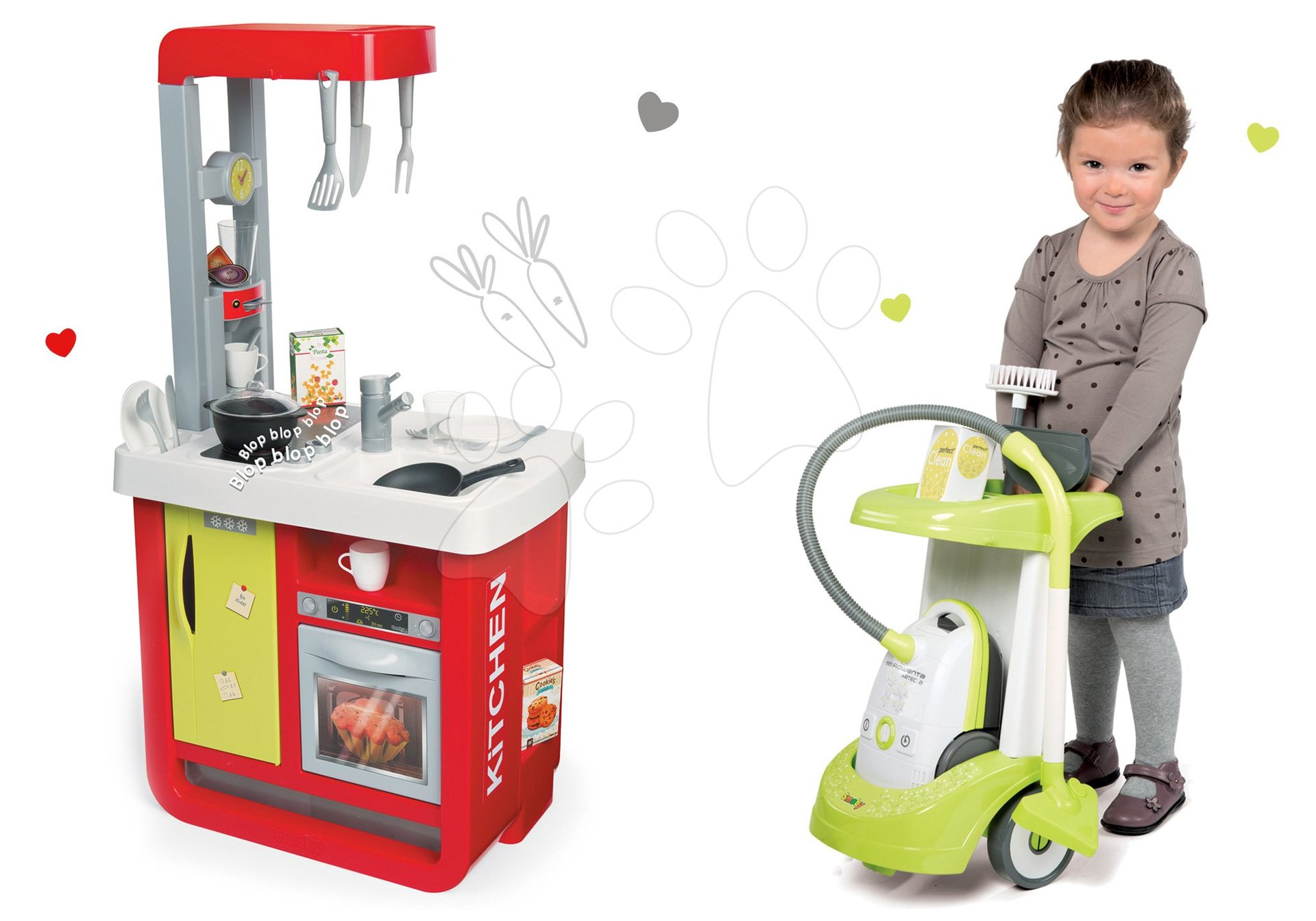 Set kuchyňka Cherry Special Smoby se zvuky a kávovarem a úklidový vozík s vysavačem