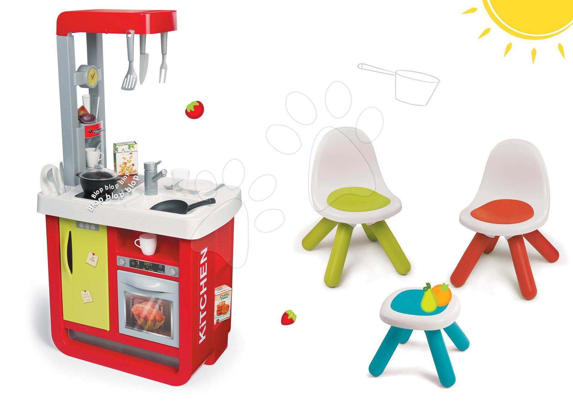 Kuchynky pre deti sety - Set kuchynka Cherry Special Smoby so zvukmi a kávovarom a stôl Piknik s dvoma stoličkami KidChair