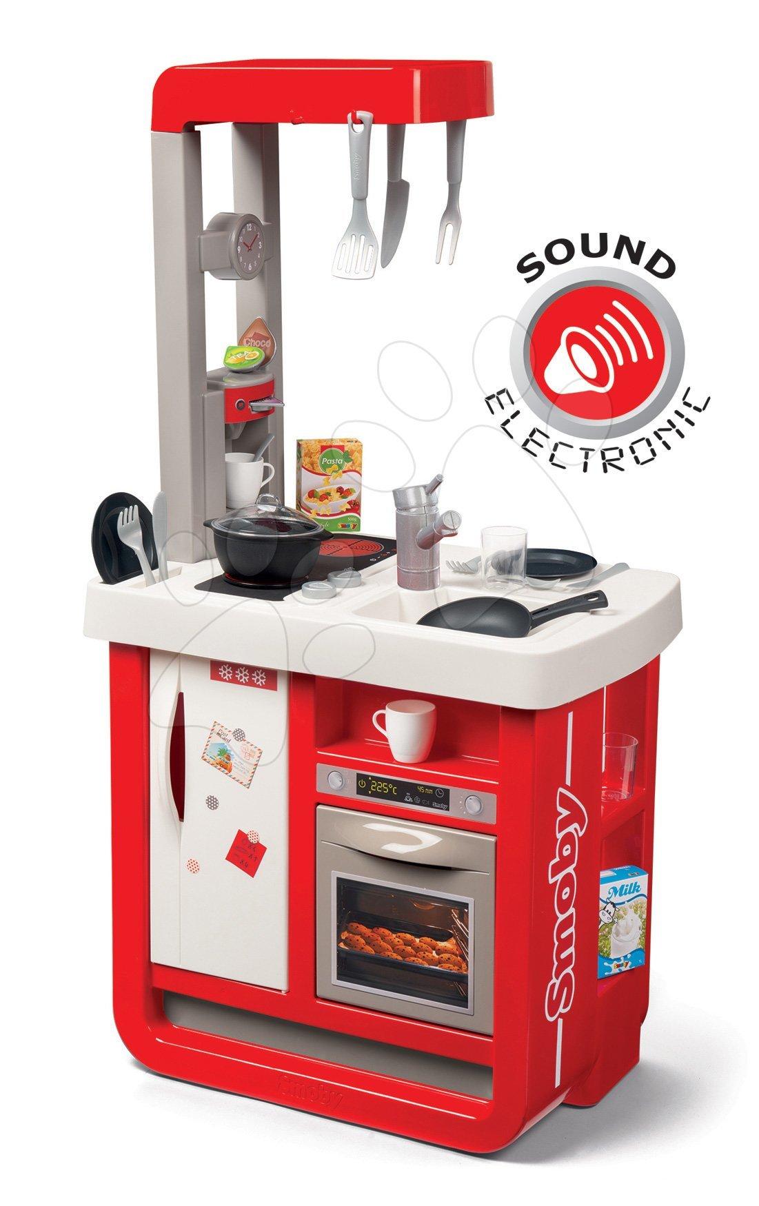 Kuchyňka elektronická Bon Appetit Smoby červená zvuková s chladničkou kávovarem a 23 doplnků
