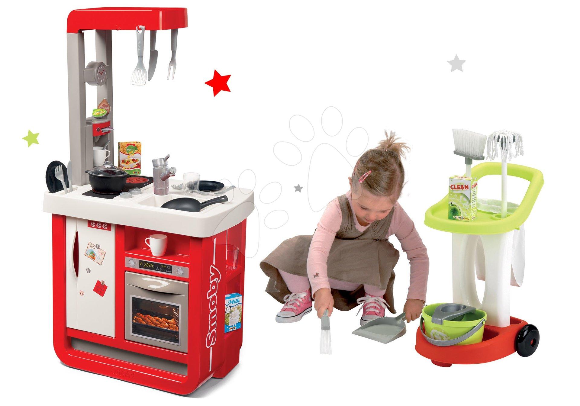 Set kuchynka elektronická Bon Appetit s kávovarom a upratovací vozík s vedrom