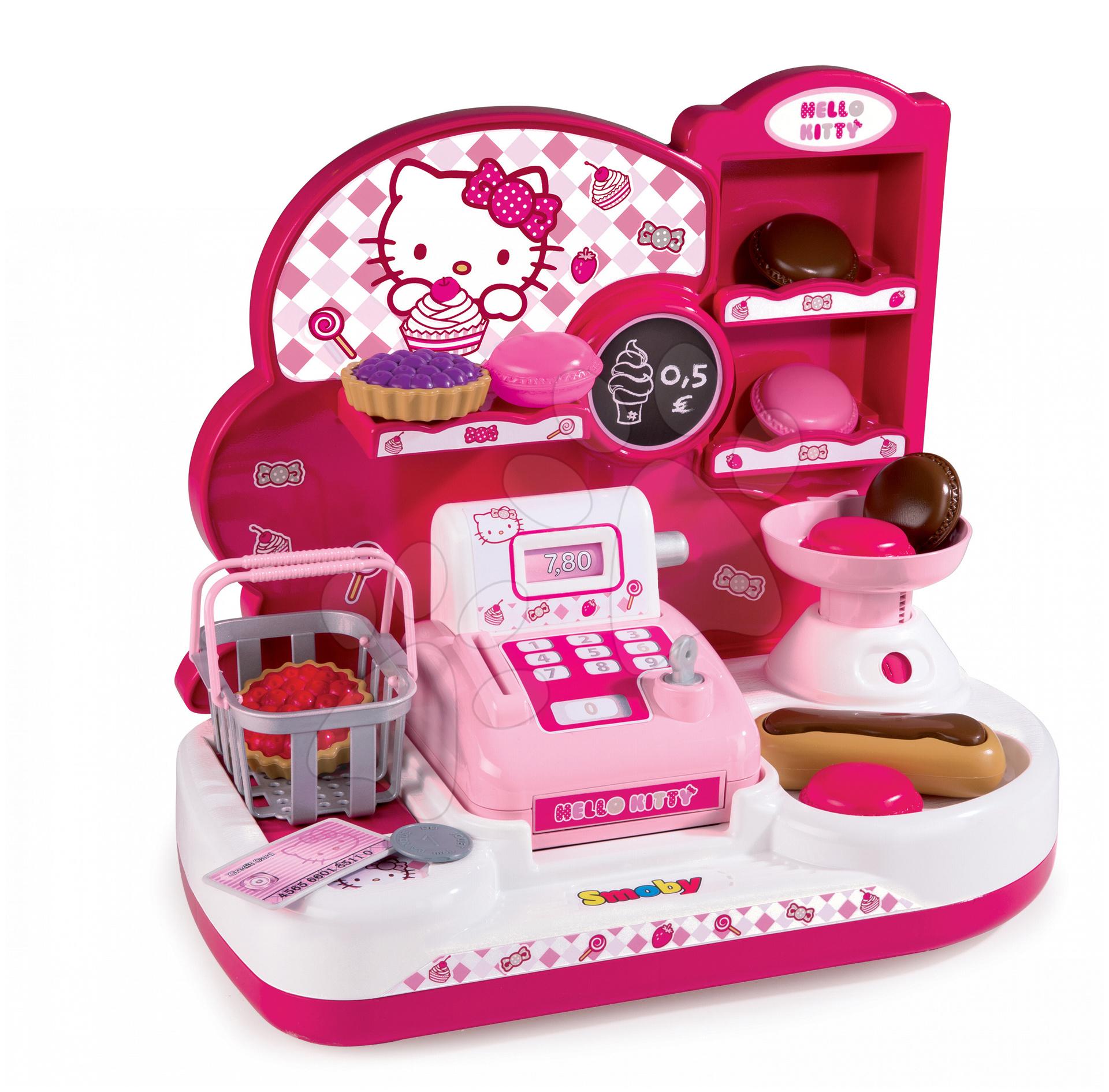 Obchody pre deti - Obchod s pokladňou Hello Kitty Smoby 17 doplnkov