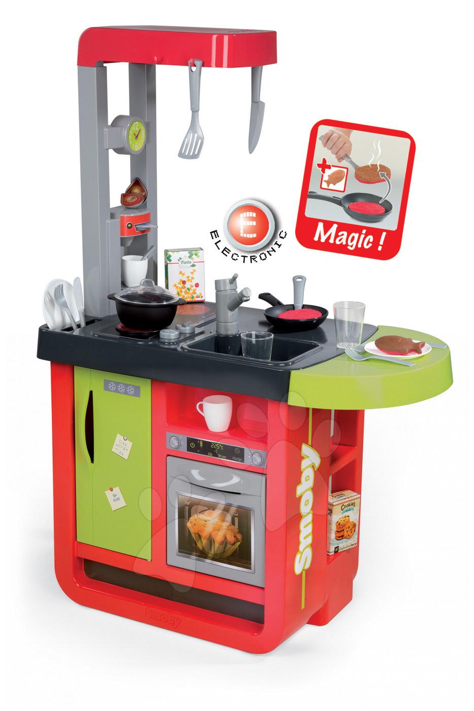 Elektronické kuchynky - Kuchynka Cherry Special Smoby elektronická so zvukmi, s jedálňou, kávovarom a 25 doplnkami červeno-zelená