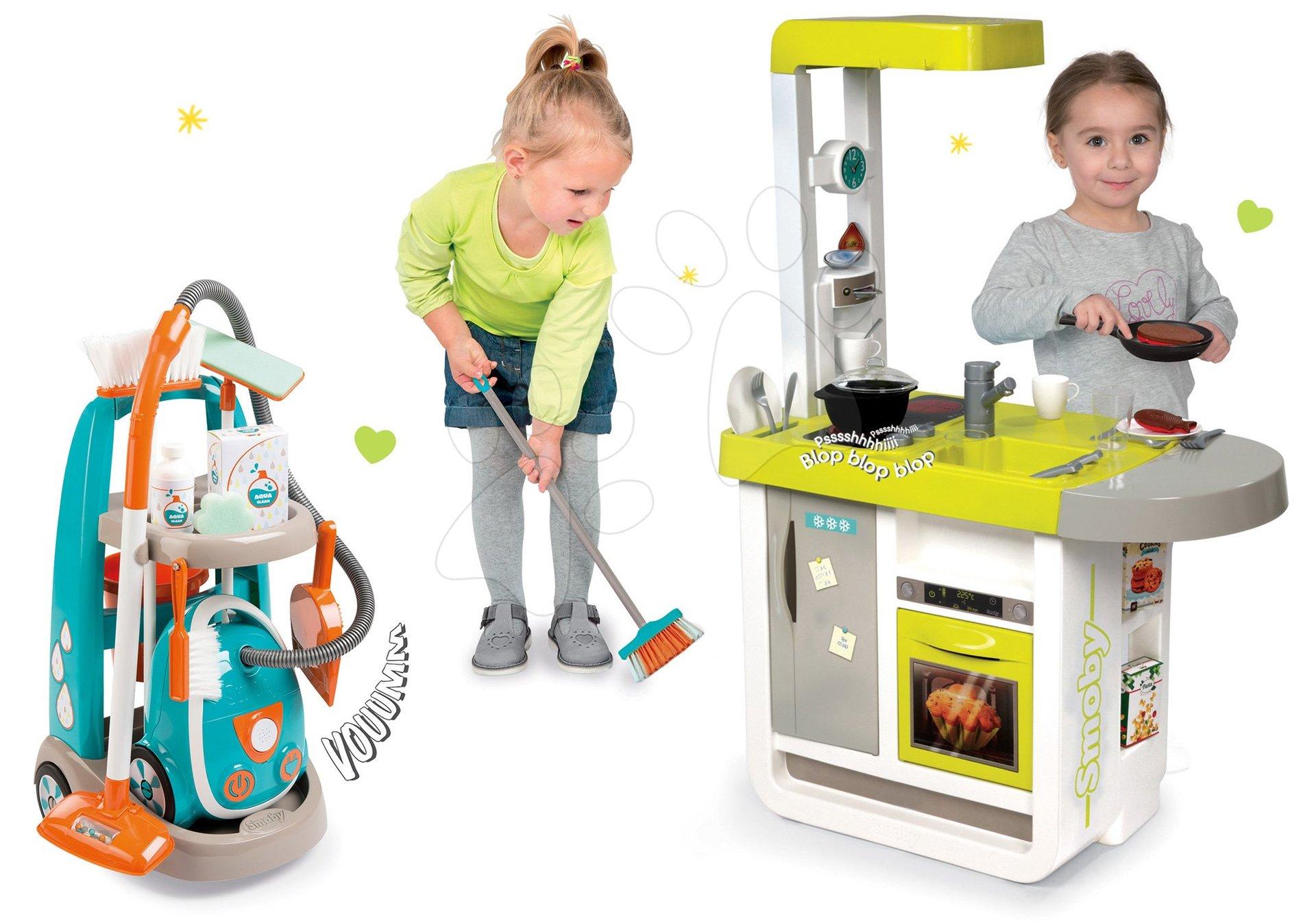 Smoby set detská kuchynka elektronická Cherry so zvukmi a upratovací vozík s vysávačom 310908-1