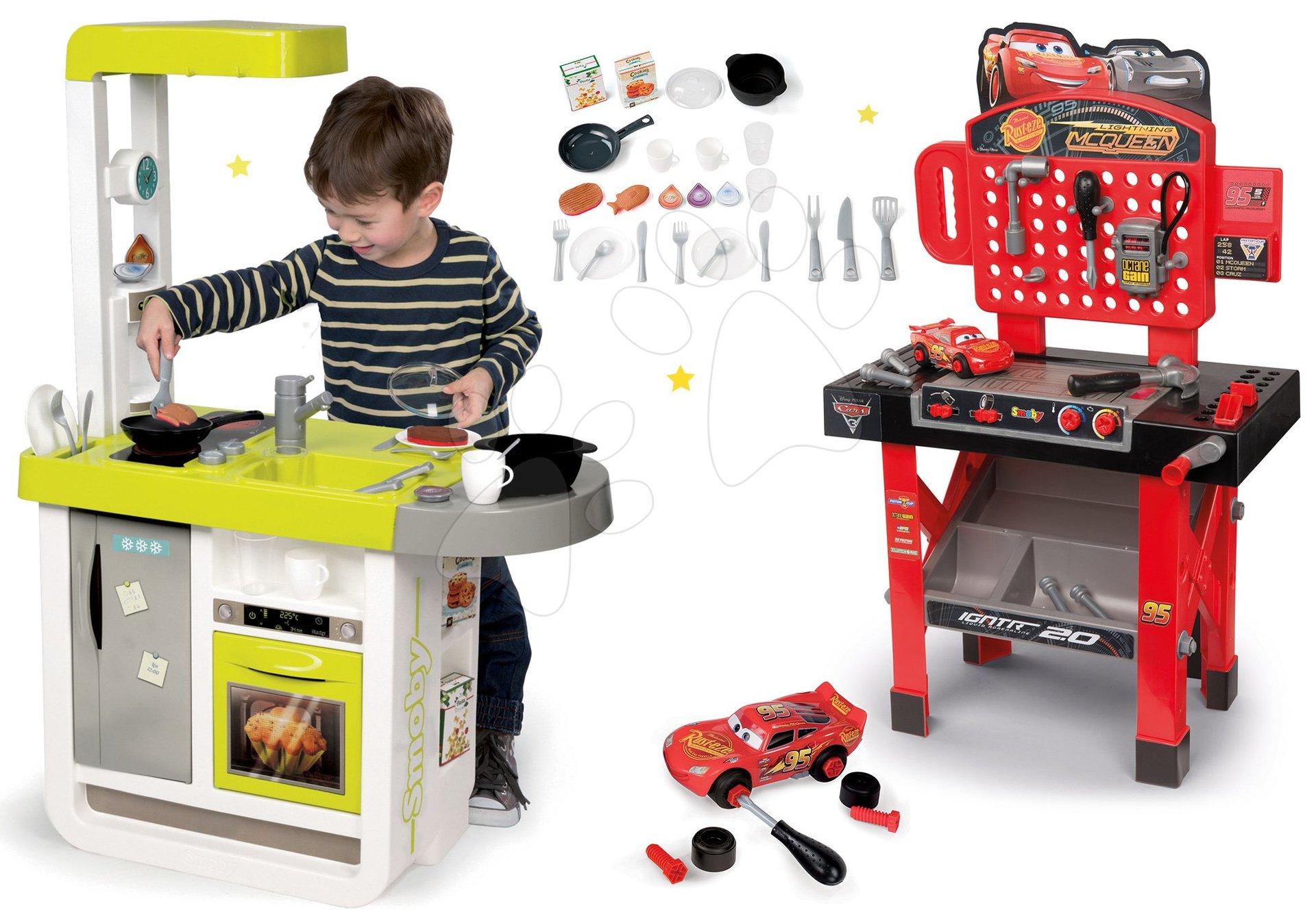 Set kuchynka elektronická Cherry Smoby so zvukmi a pracovná dielňa Autá 3 s otáčacou plochou