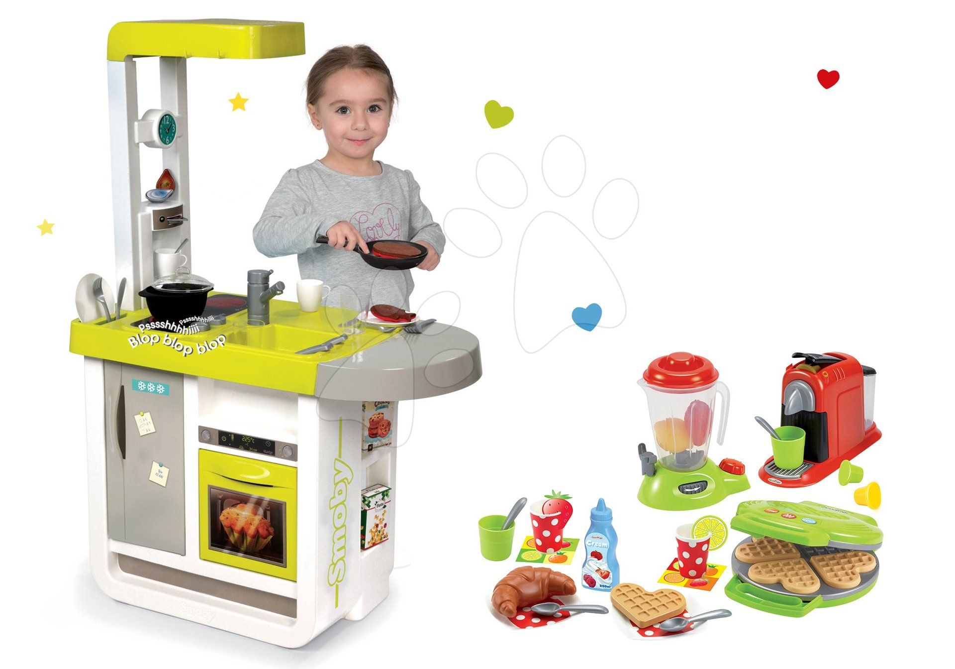 Smoby set kuchynka elektronická Cherry a vaflovač s mixérom, kávovarom a vaflami 310908-12