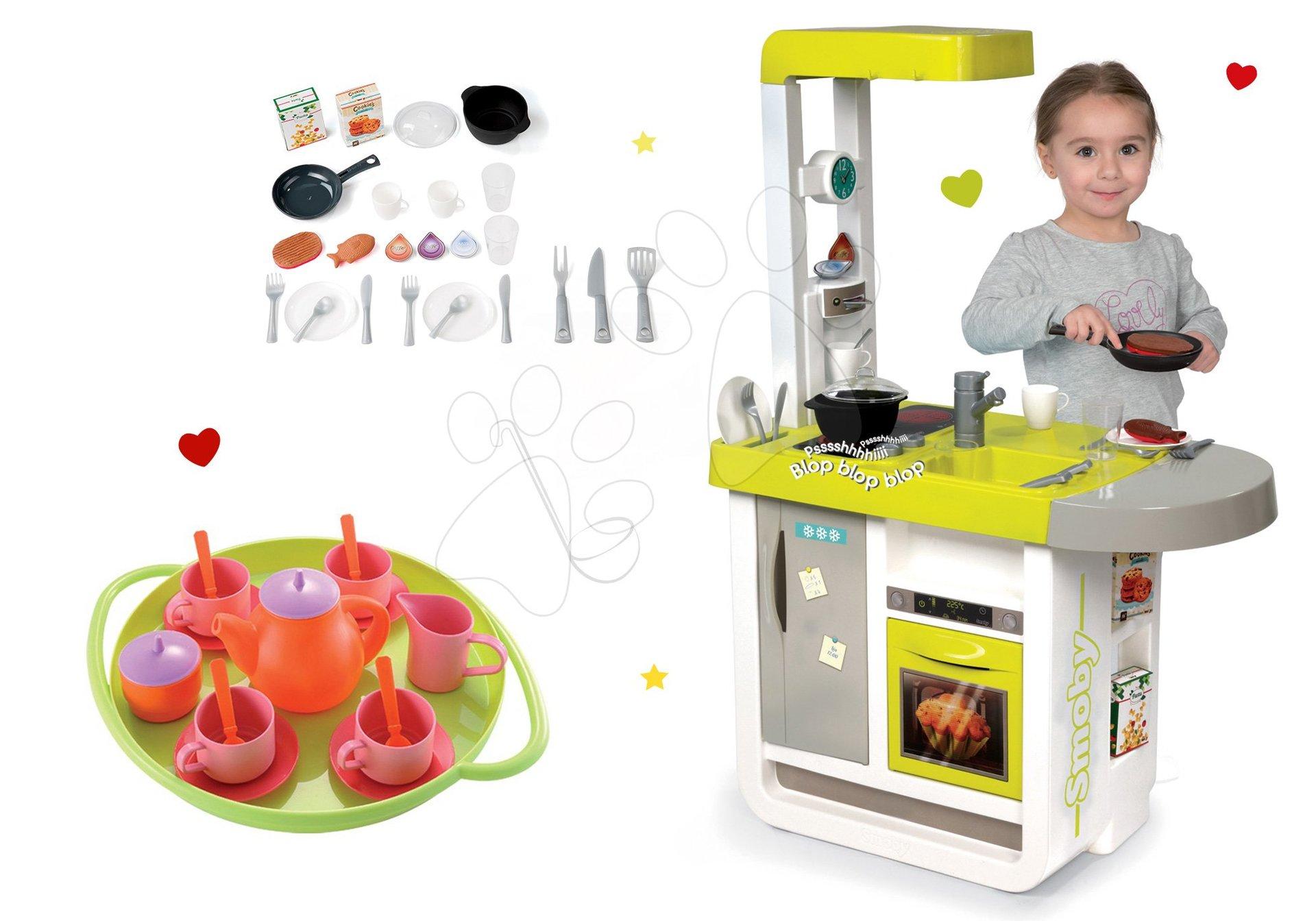 Smoby set detská kuchynka elektronická Cherry so zvukmi a čajová súprava na tácke 310908-13