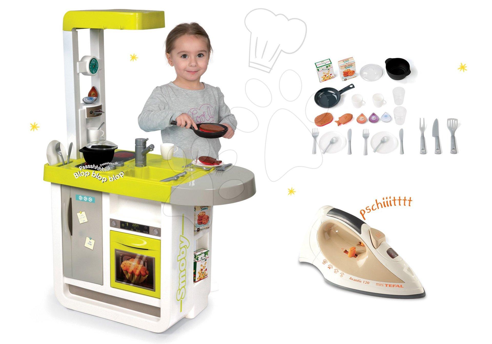Smoby set detská kuchynka elektronická Cherry so zvukmi a žehlička so zvukom Tefal Avantis 310908-14