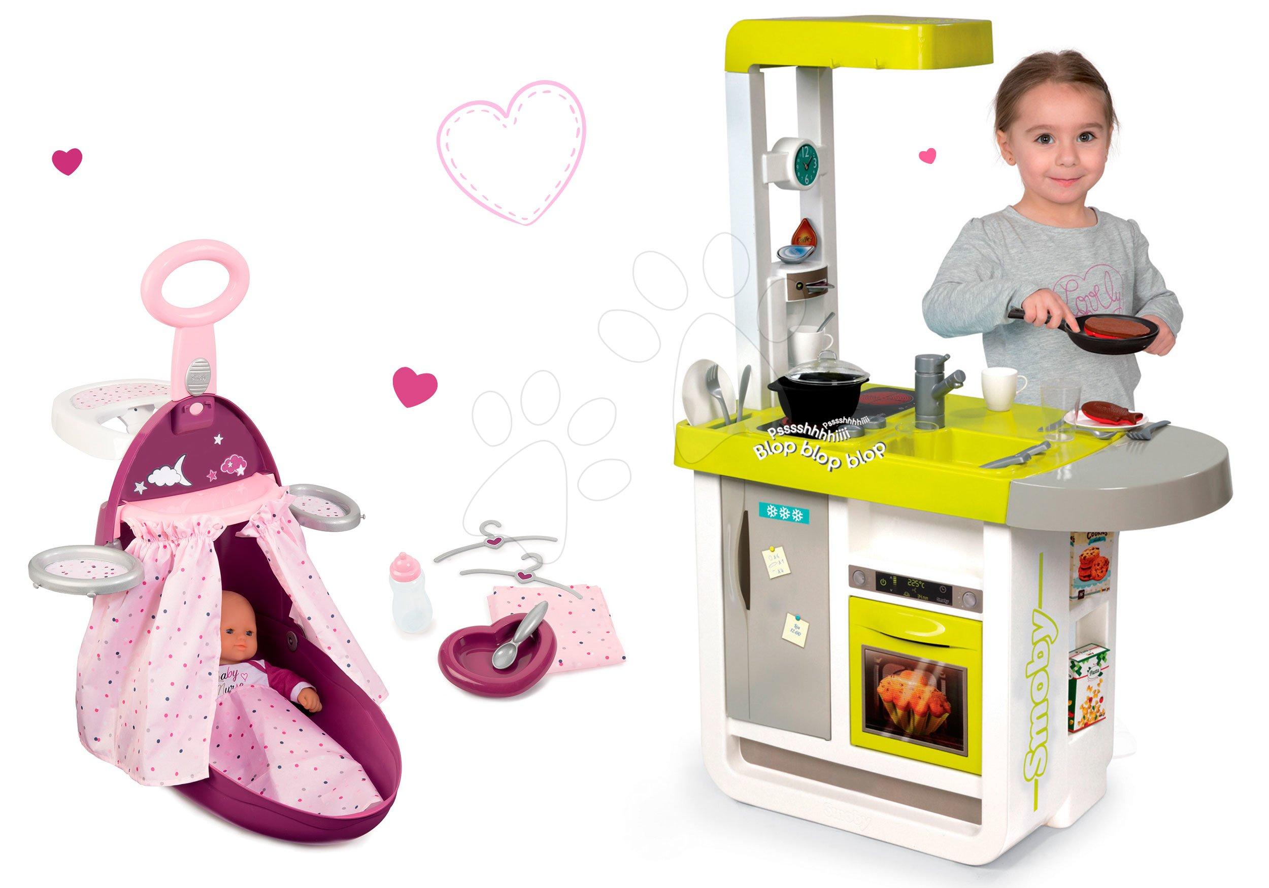 Smoby set kuchynka elektronická Cherry so zvukmi a prebaľovací vozík s postieľkou a stoličkou 310908-2