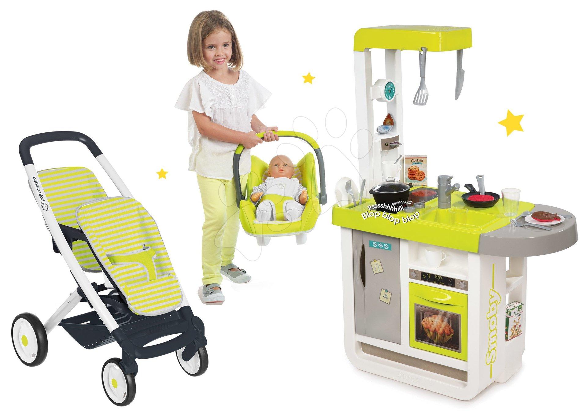 Smoby set detská kuchynka elektronická Cherry a kočík Maxi Cosi & Quinn s autosedačkou 310908-3