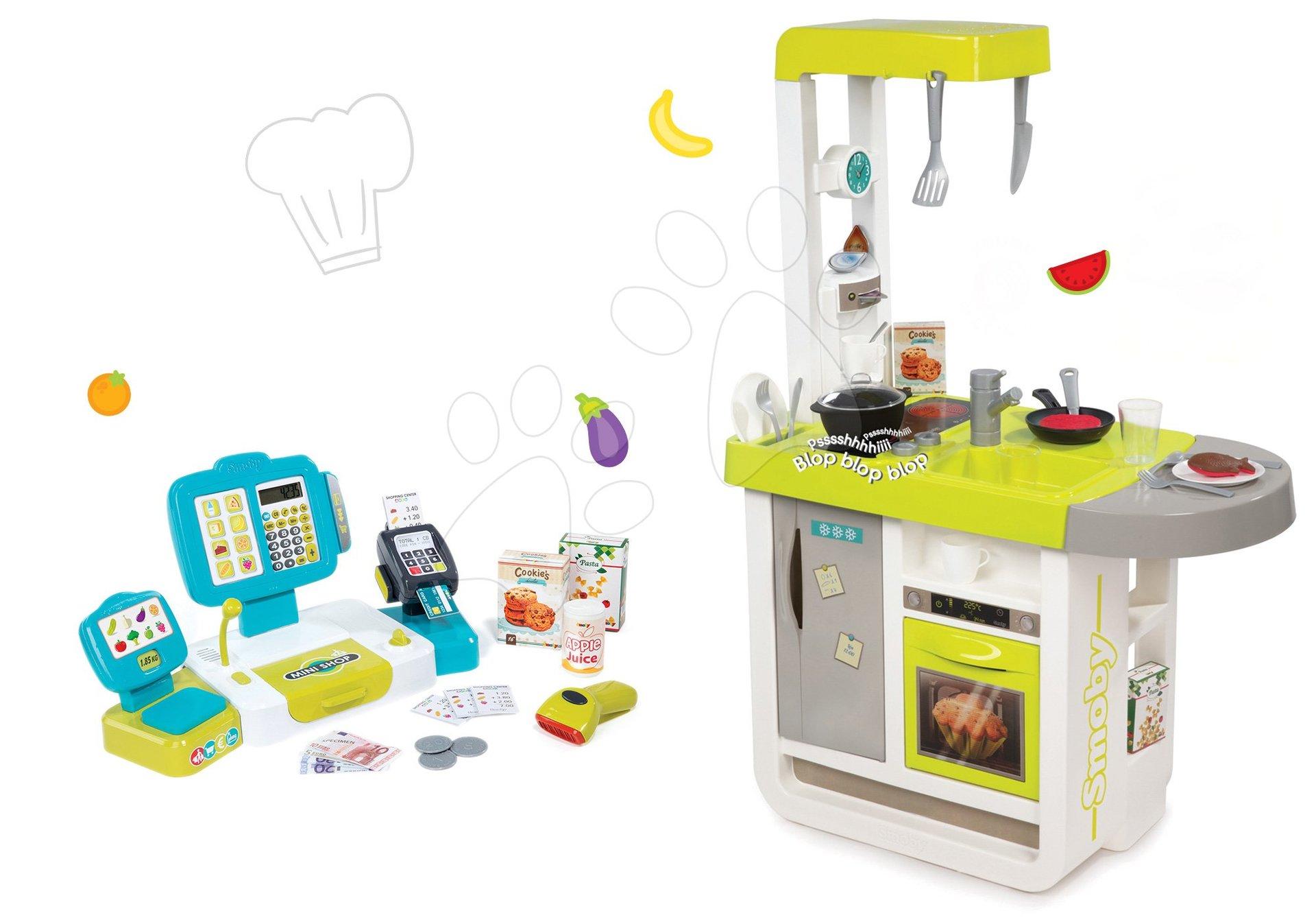 Smoby set detská kuchynka elektronická Cherry so zvukmi a pokladňa s váhou, terminálom, čítačka kódov 310908-5