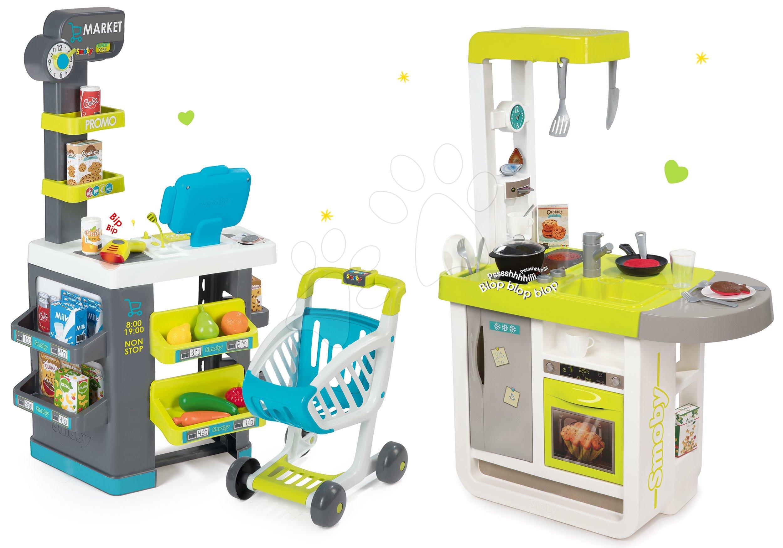Smoby set detská kuchynka elektronická Cherry so zvukmi a obchod s pokladňou a potravinami 310908-6