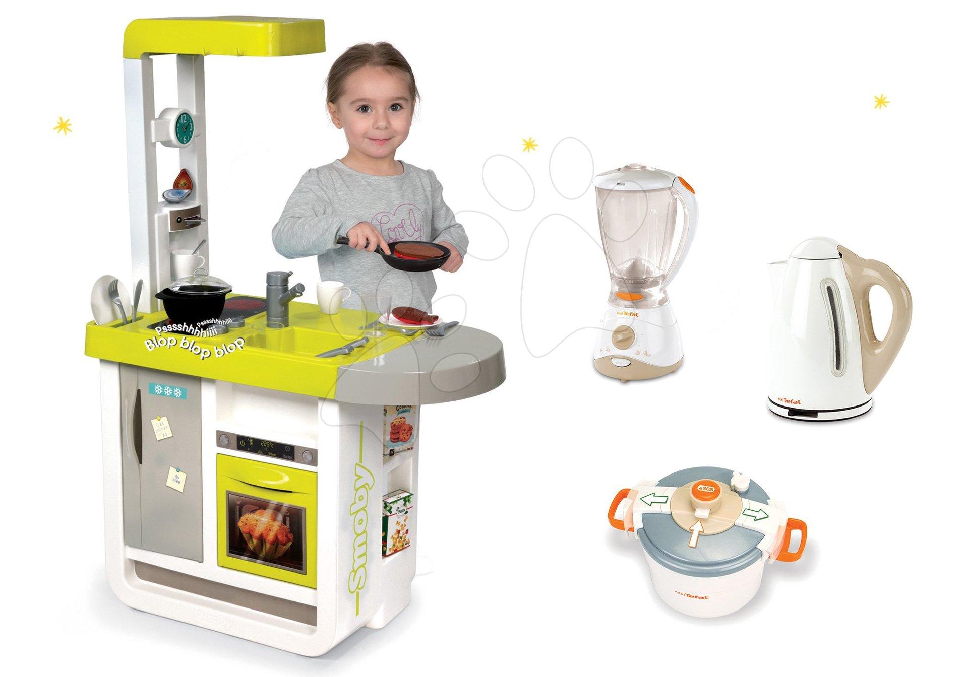 Smoby set detská kuchynka elektronická Cherry so zvukmi a kuchynské spotrebiče Tefal 310908-7