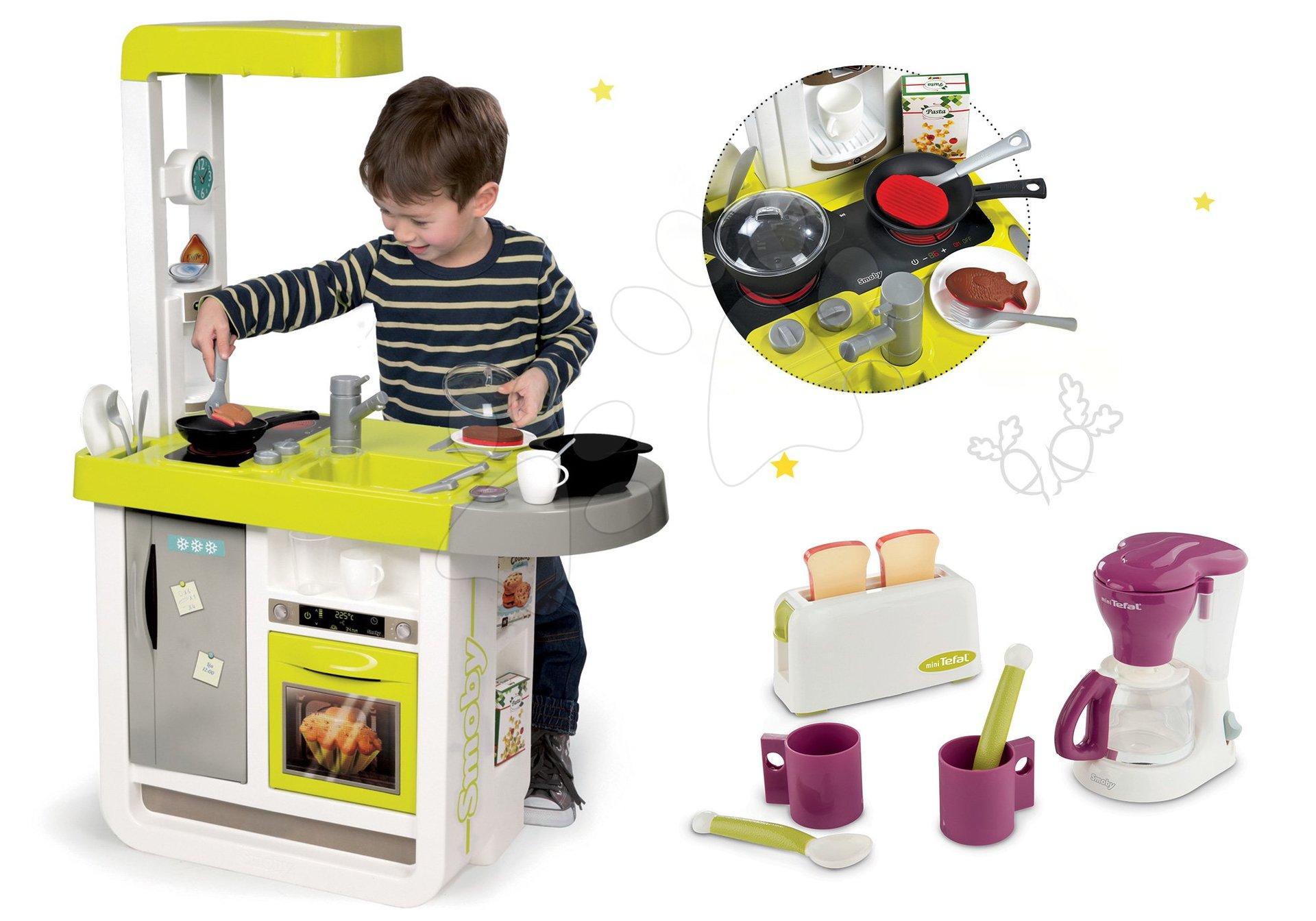 Smoby set detská kuchynka elektronická Cherry a raňajkový set s kávovarom a toasterom Tefal 310908-8