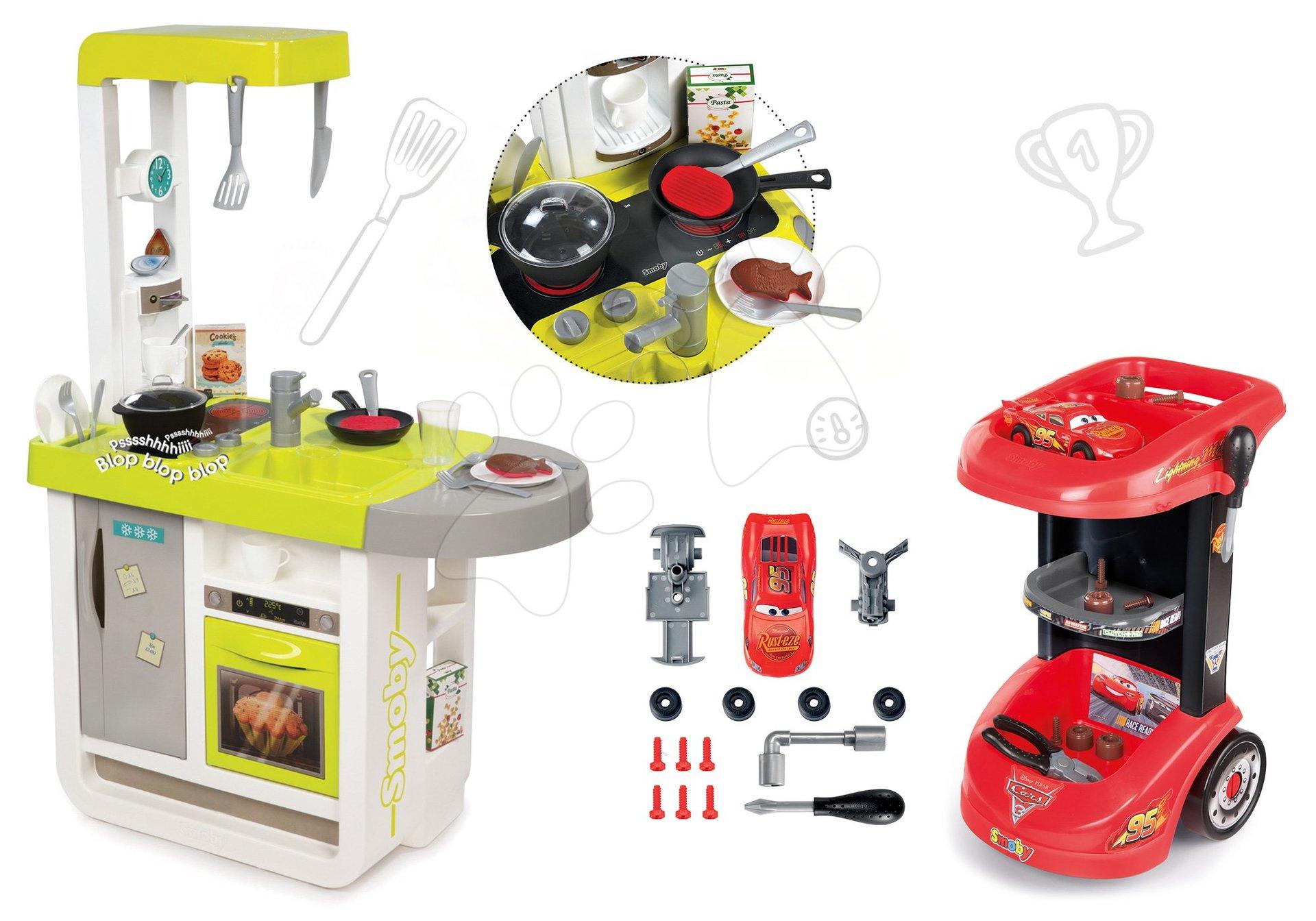 Smoby set detská kuchynka elektronická Cherry so zvukmi a pracovný vozík Autá 3 so skladacím autíčkom 310908-9