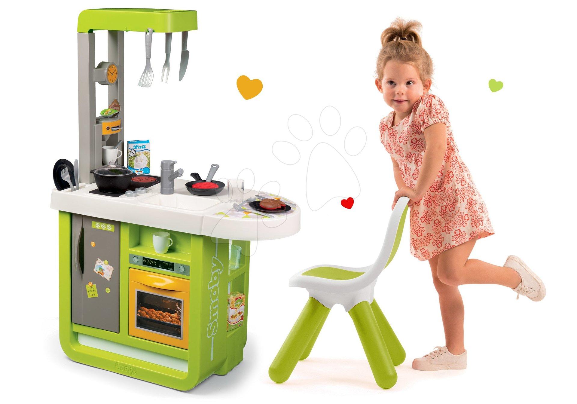 Set kuchynka Cherry Smoby so zvukmi a stolička pre deti KidChair