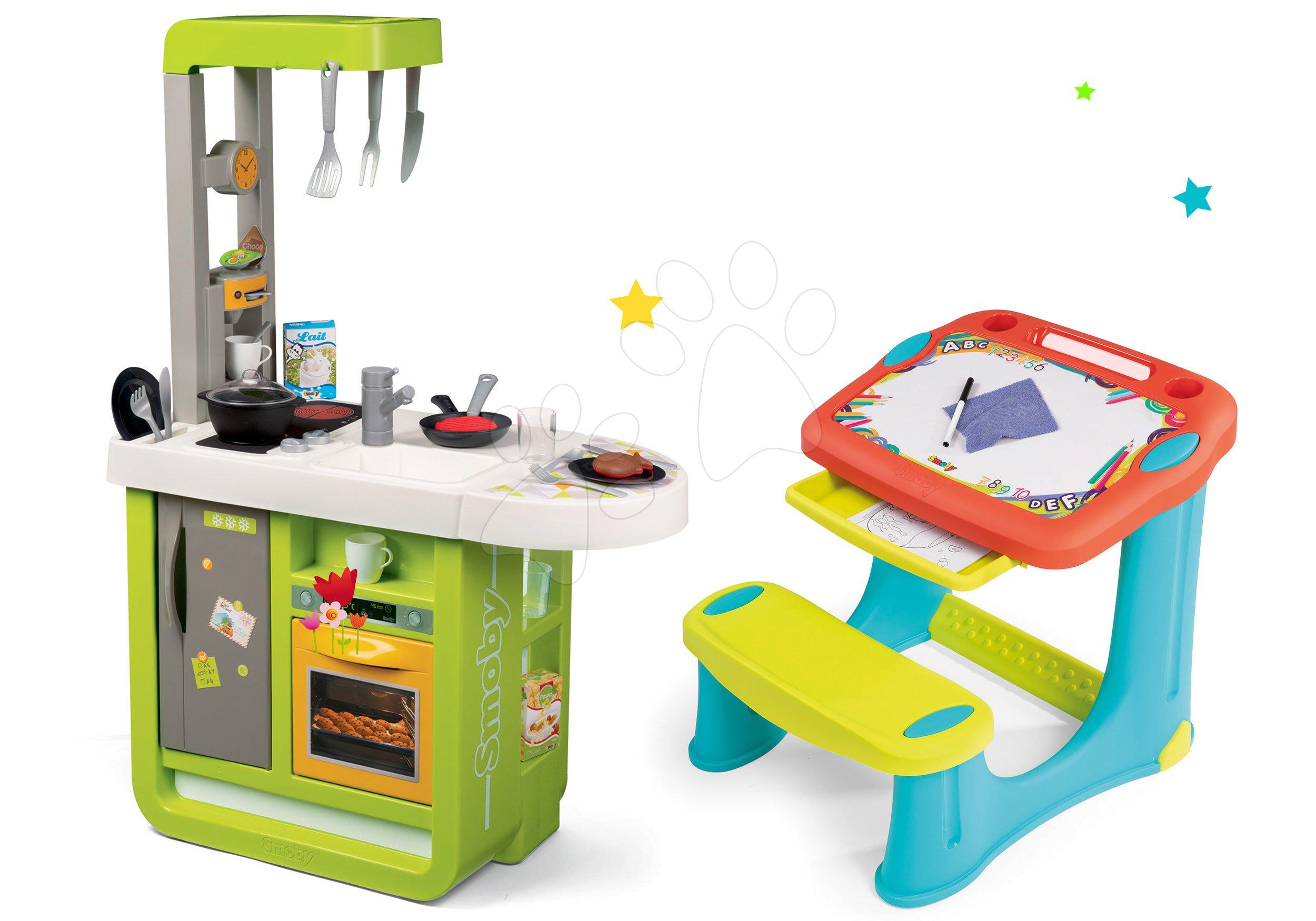 Set kuchynka Cherry so zvukmi Smoby a lavica na kreslenie Magic Desk Kresli a zmaž
