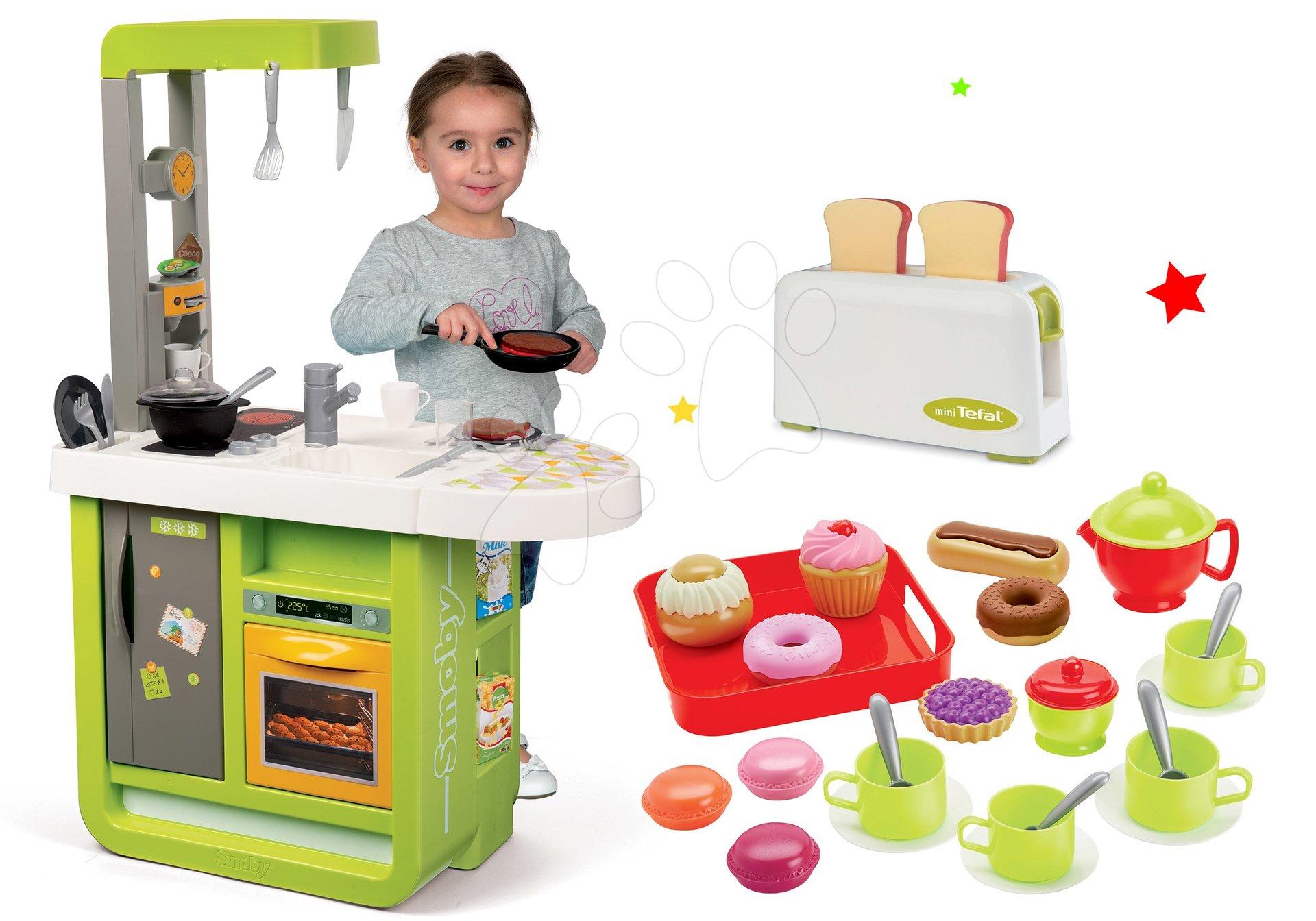 Kuchynky pre deti sety - Set kuchynka Cherry Kitchen Smoby so zvukmi a kávovarom, hriankovačom a čajovou súpravou
