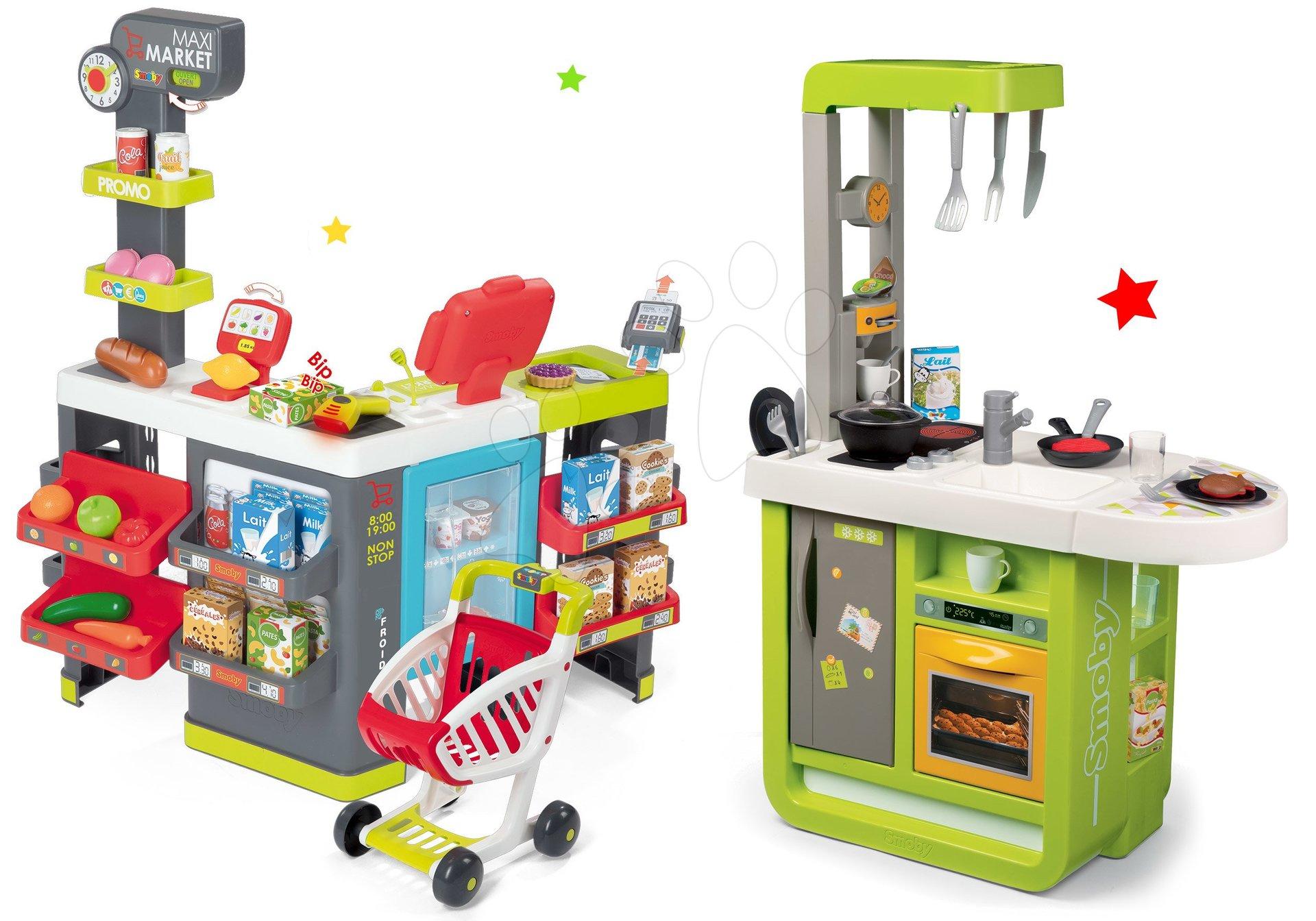 Kuchynky pre deti sety - Set kuchynka Cherry Kitchen Smoby so zvukmi a kávovarom a obchod zmiešaný tovar s pokladňou