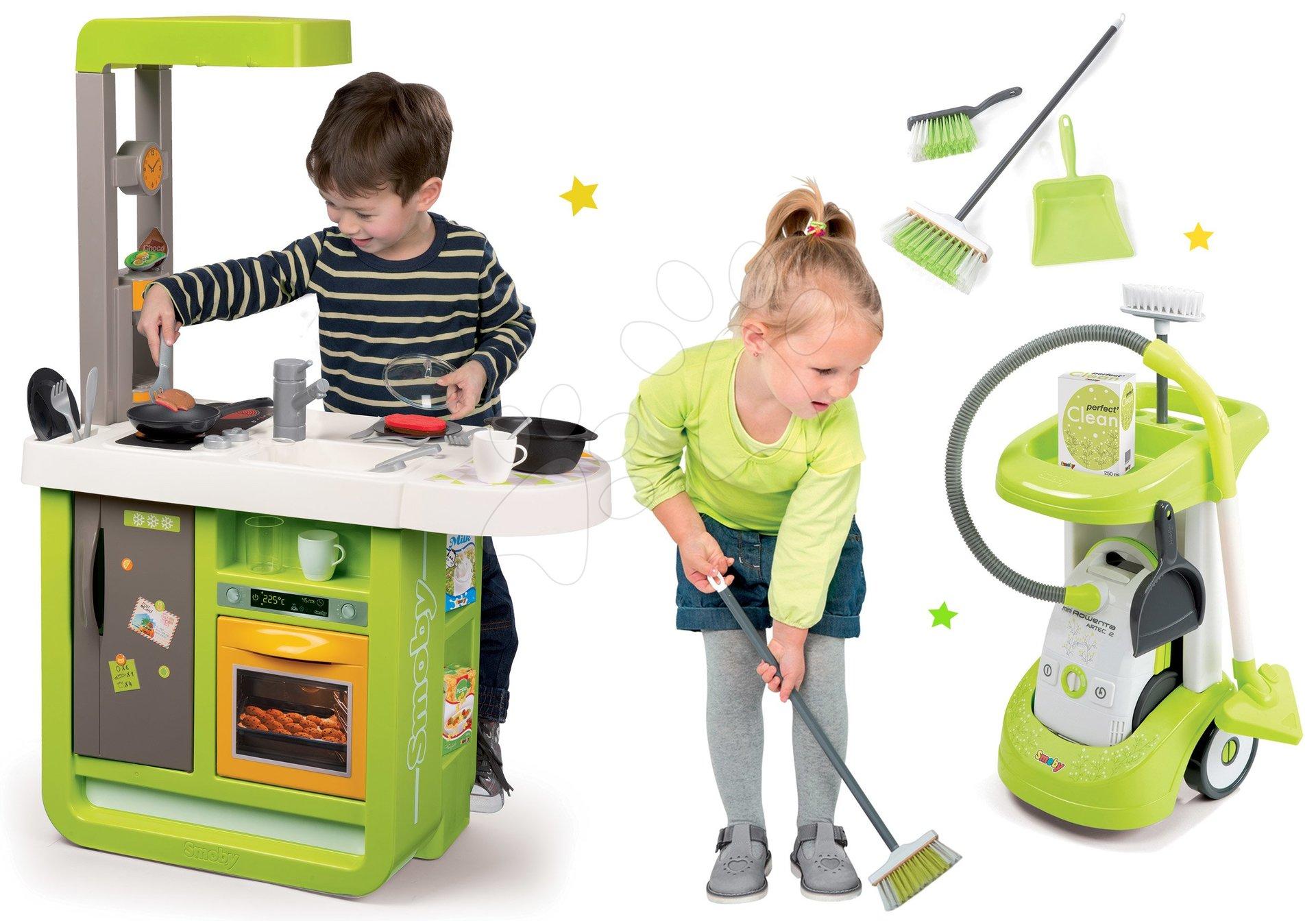 Kuchynky pre deti sety - Set kuchynka Cherry Kitchen Smoby so zvukmi a kávovarom, vozíkom, vysávačom a upratovacie pomôcky 3v1