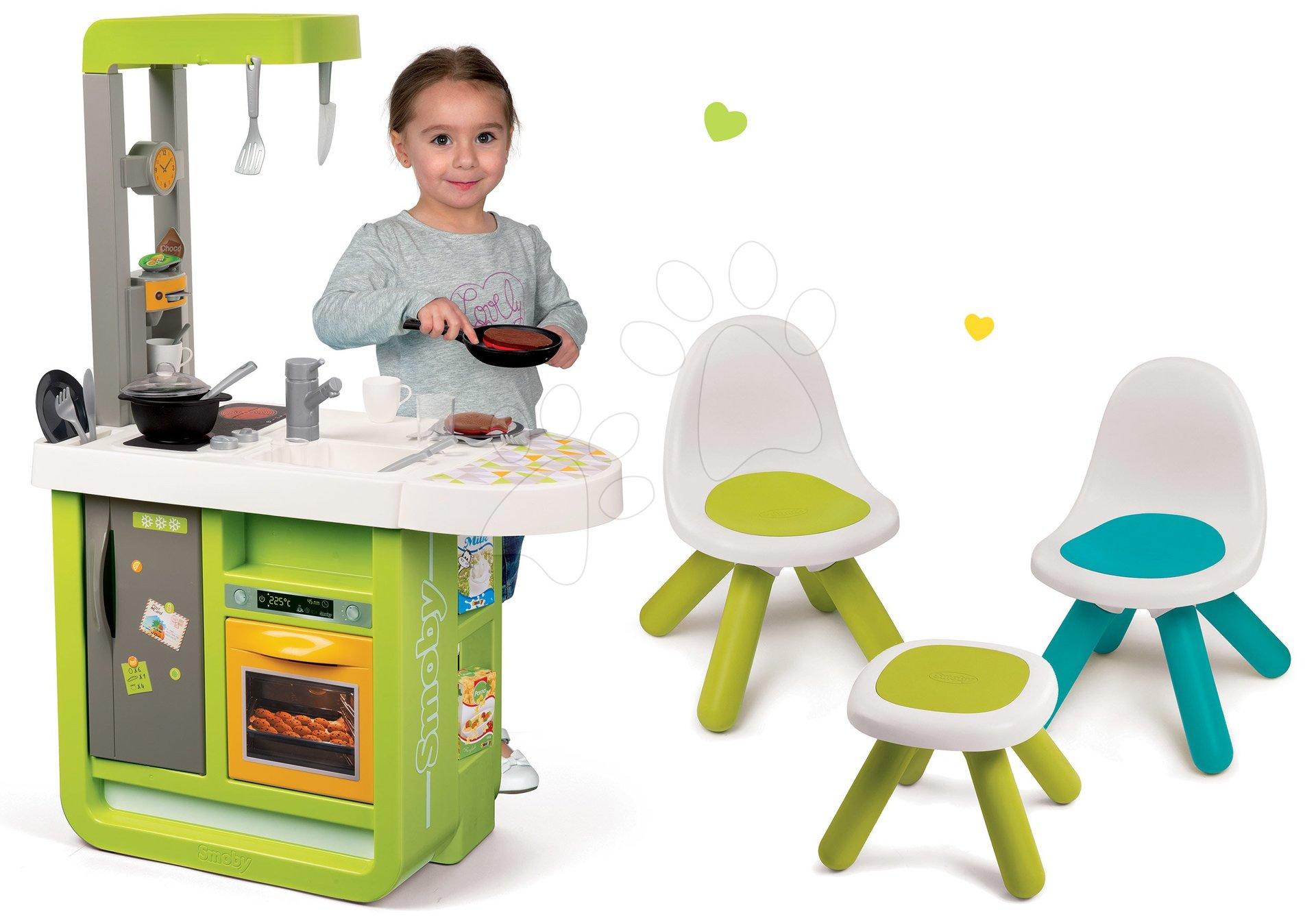 Smoby set detská kuchynka Cherry Kitchen a detský stolík Piknik s dvoma stoličkami KidChair Blue 310900-6
