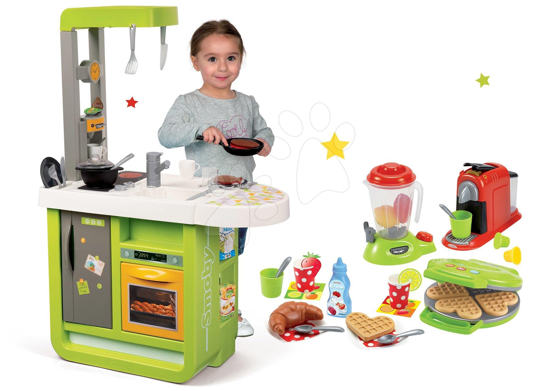 Smoby set kuchynka Cherry Kitchen a Écoiffier vaflovač s doplnkami 310900-8