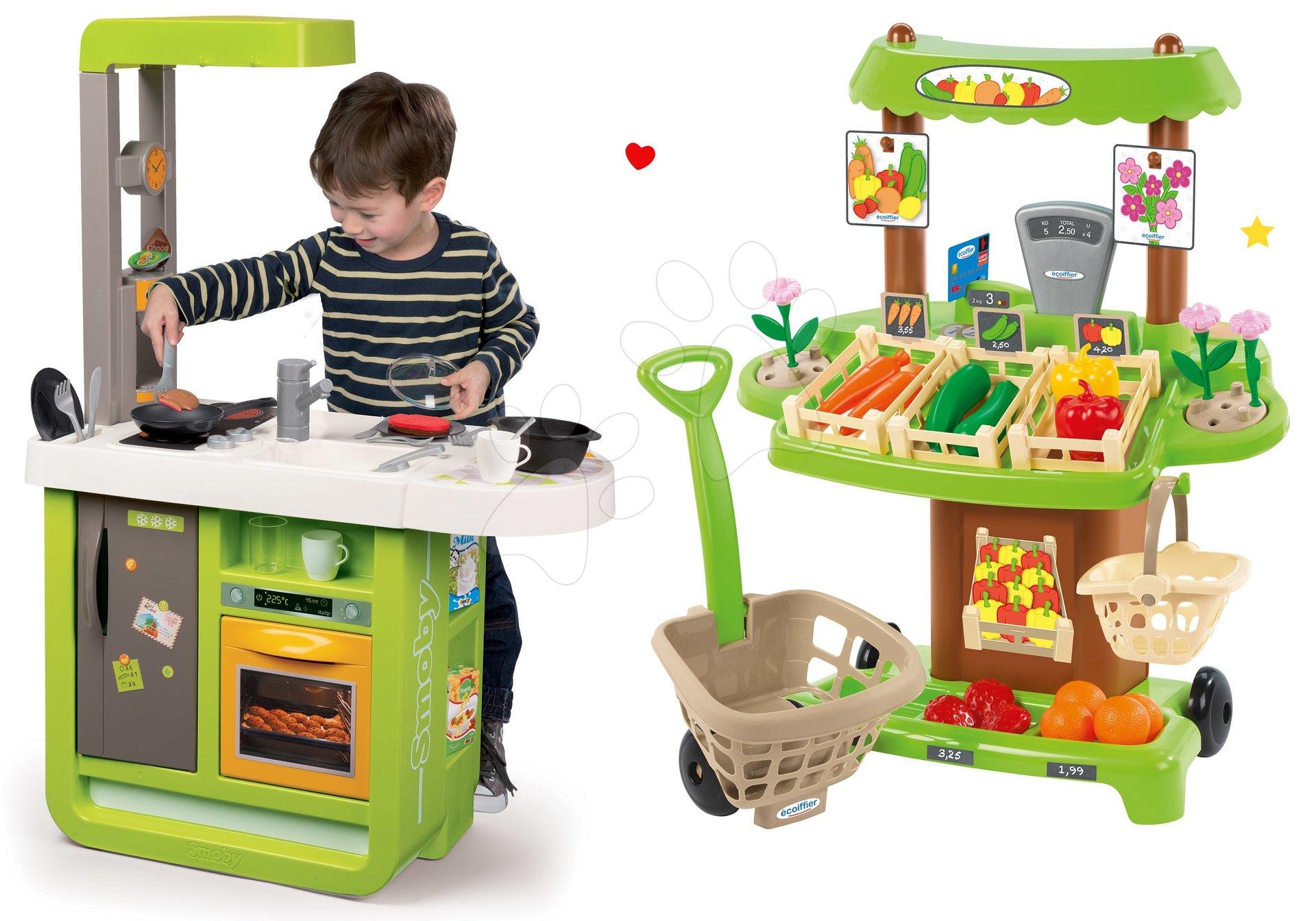 Smoby set kuchyňka Cherry Kitchen a Écoiffier vozík se zmrzlinou Délices 310900-9