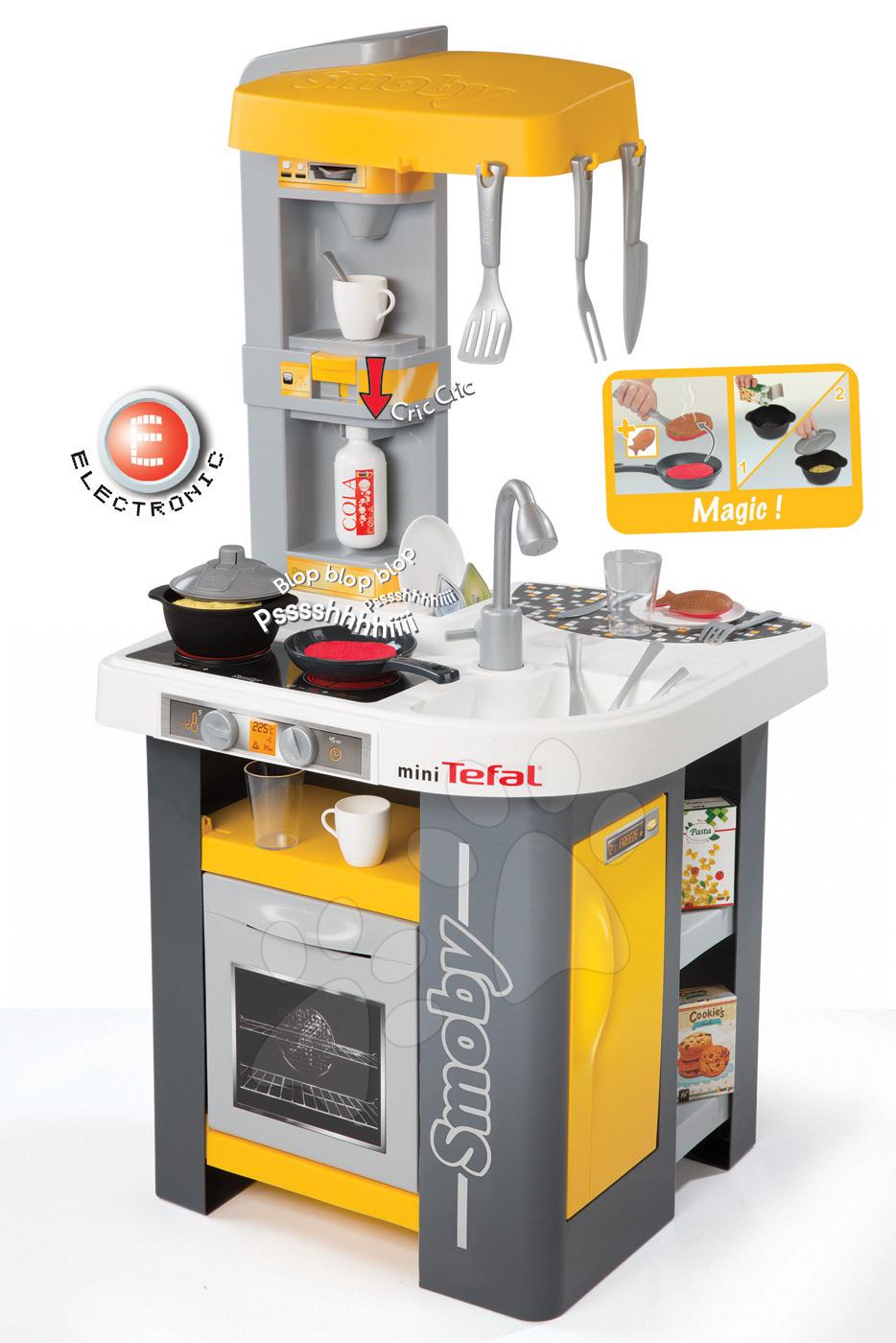 Elektronické kuchynky - Kuchynka Tefal Studio Smoby elektronická so zvukmi, so sódovačom, opečenými potravinami a 27 doplnkami žlto-šedá