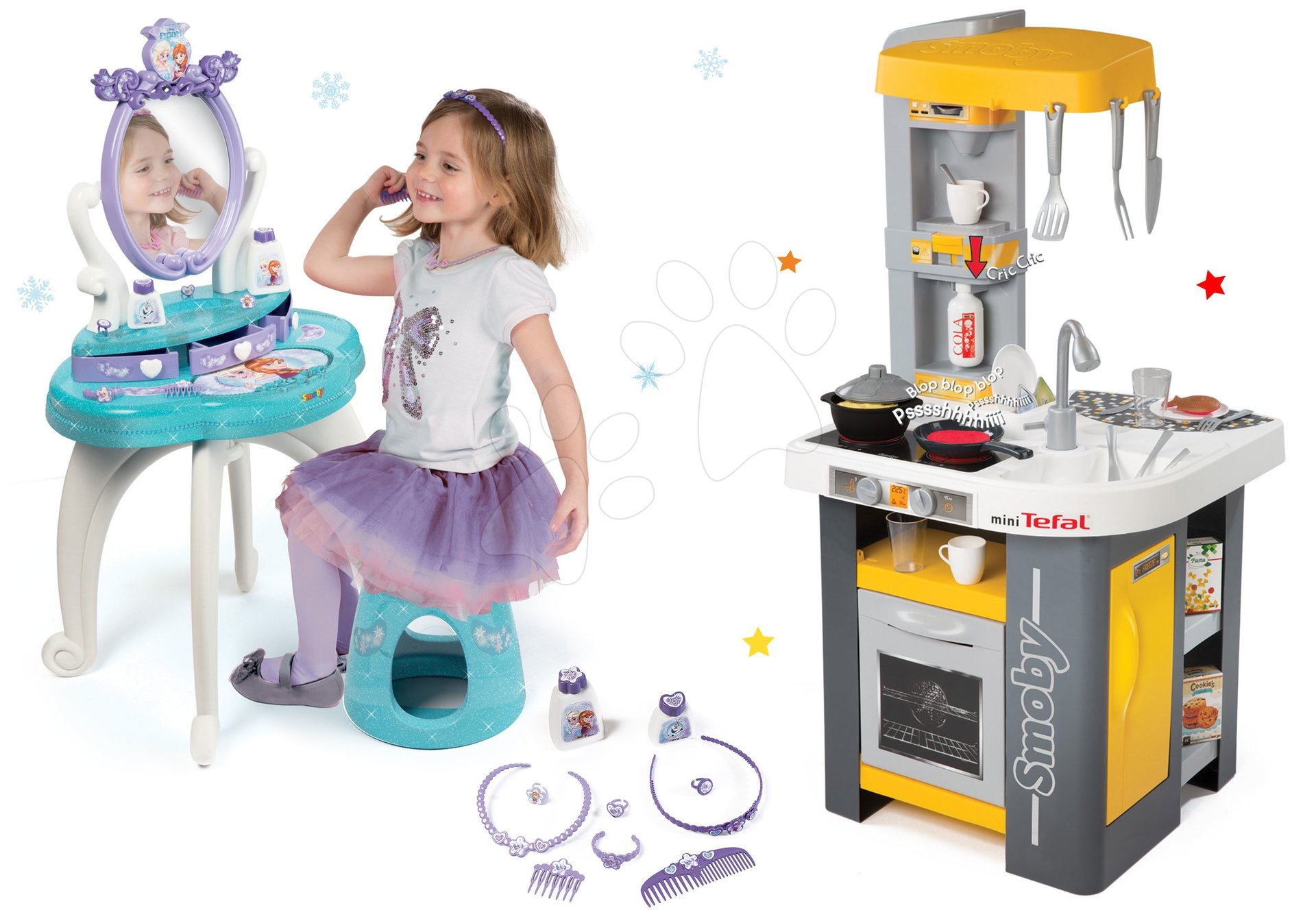 Set kuchyňka Tefal Studio Smoby se zvuky a kosmetický stolek Frozen 2v1
