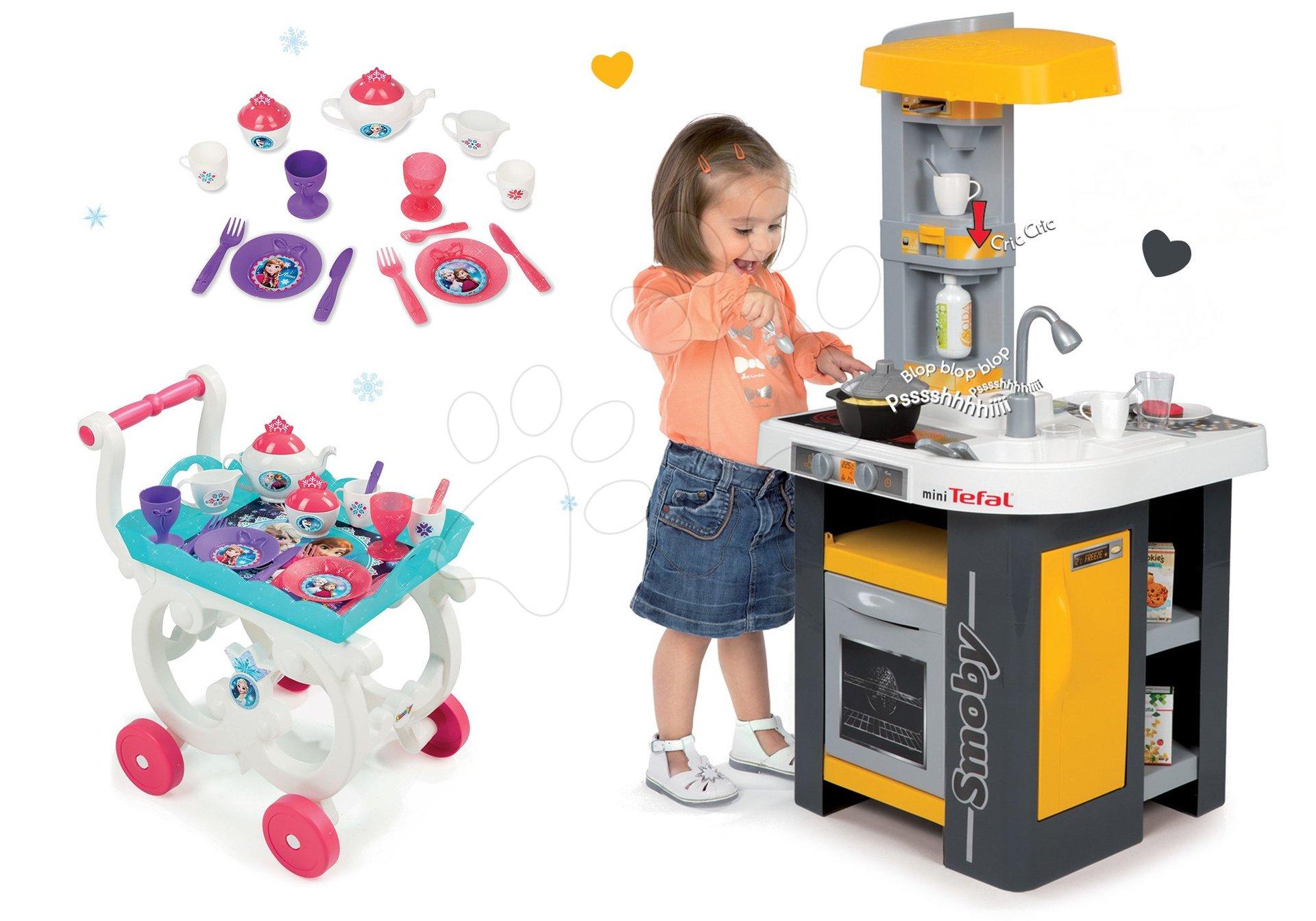 Set kuchyňka Tefal Studio Smoby se zvuky a servírovací vozík Frozen