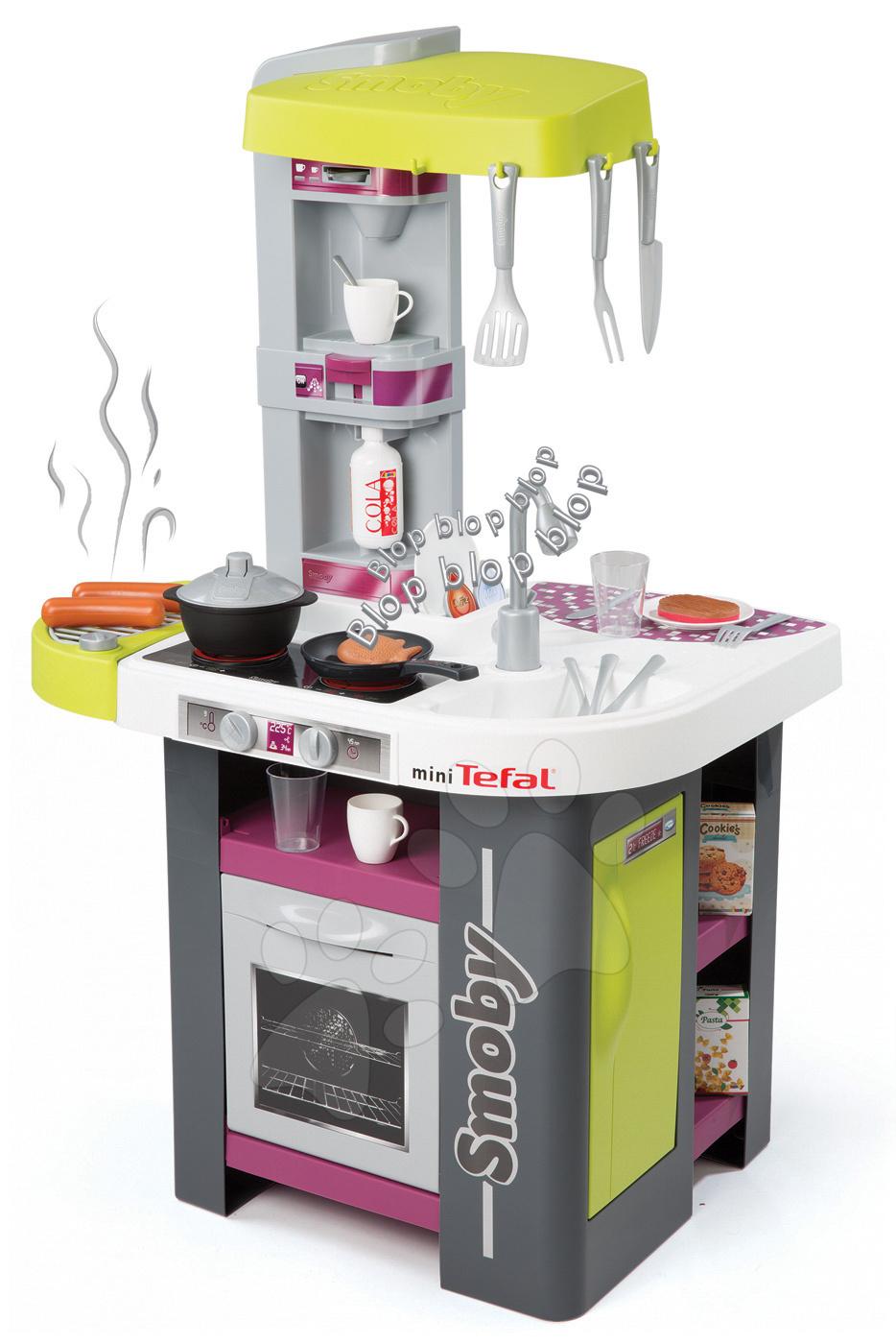 Elektronické kuchynky - Kuchynka Tefal Studio BBQ Smoby elektronická so zvukmi, s opečenými potravinami, grilom a 29 doplnkami zeleno-fialová