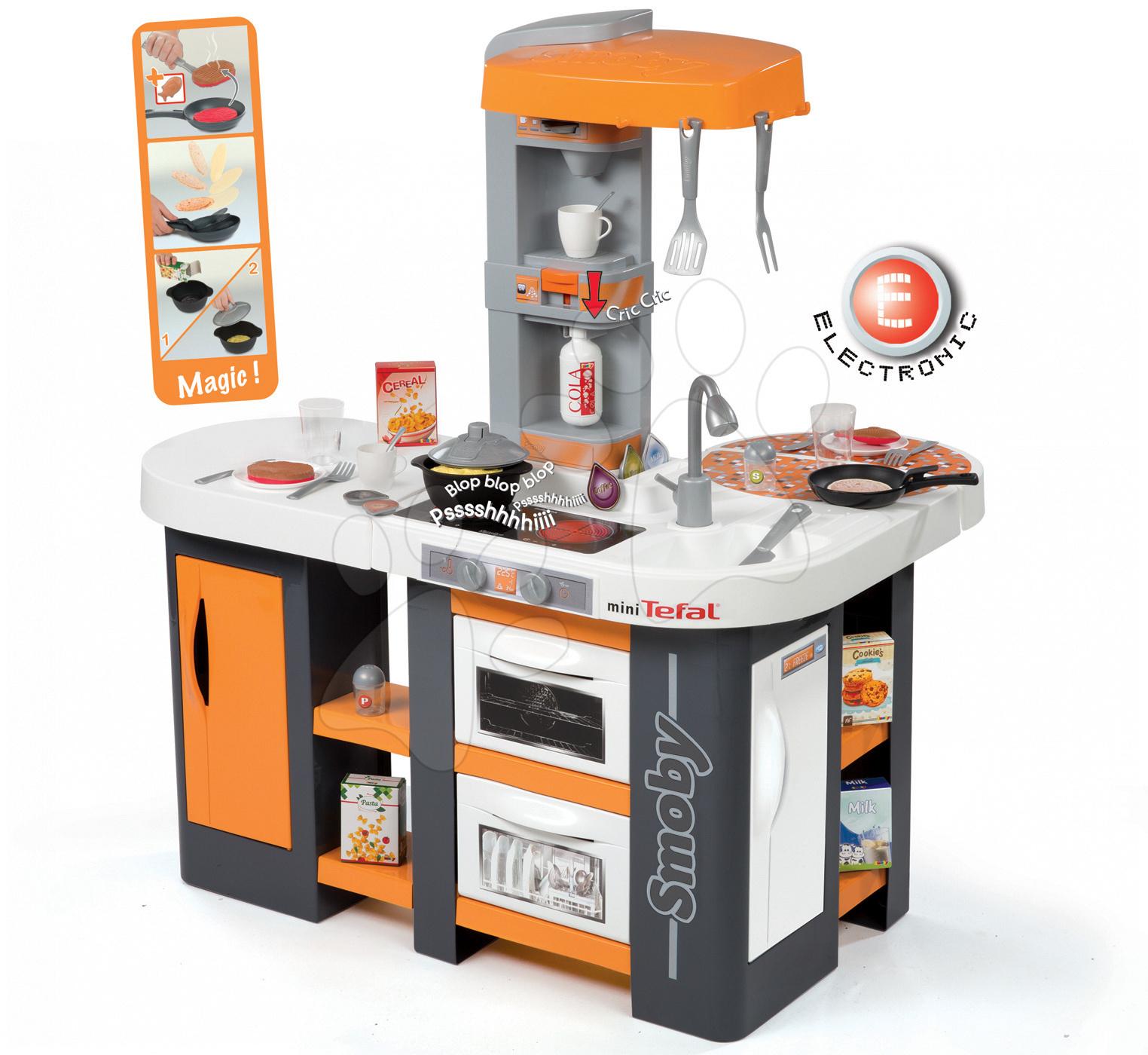 Elektronické kuchynky - Kuchynka Tefal Studio XL Smoby elektronická so zvukmi, s jedálňou a chladničkou s 36 doplnkami oranžovo-šedá